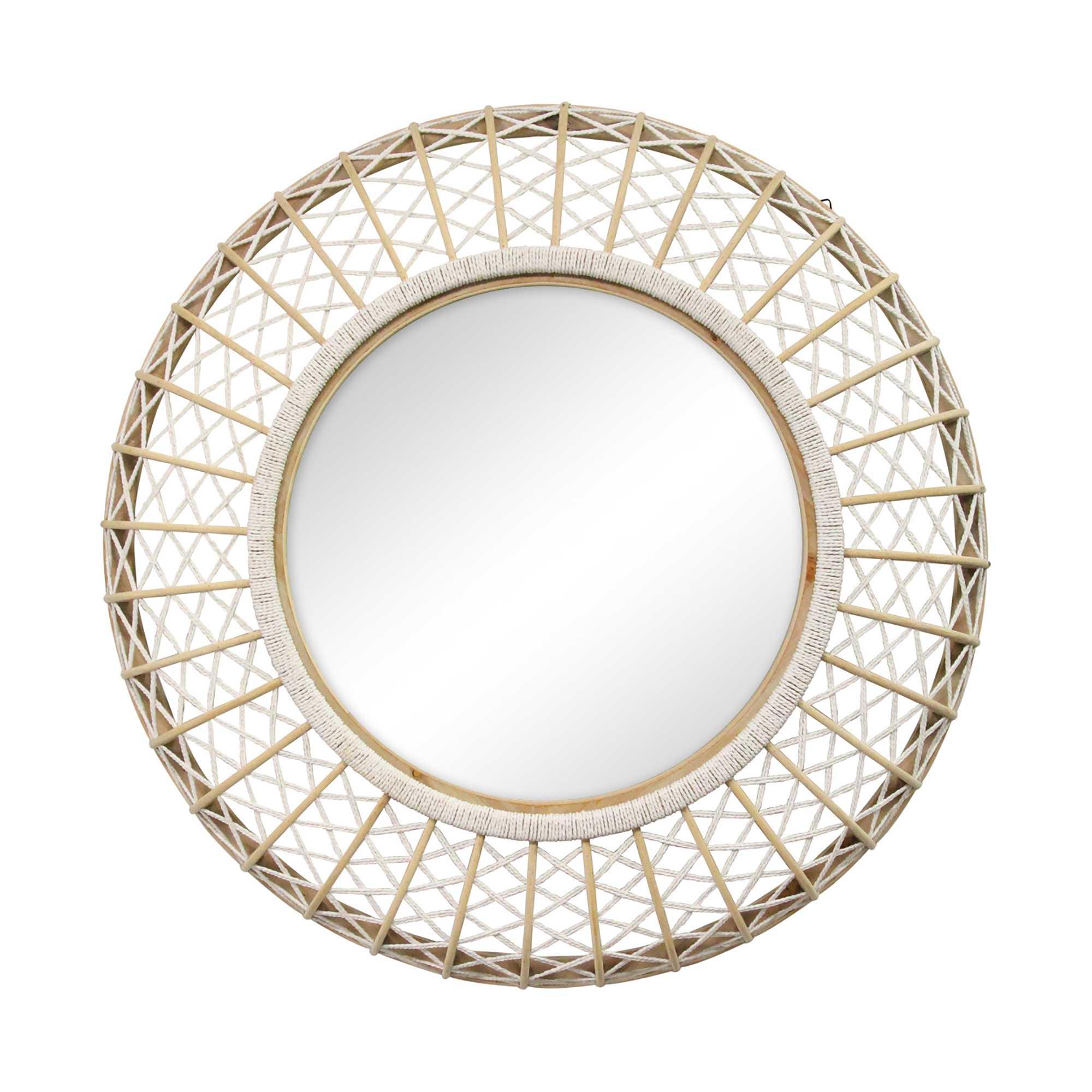 "33.50"" Woven Rattan Mirror"