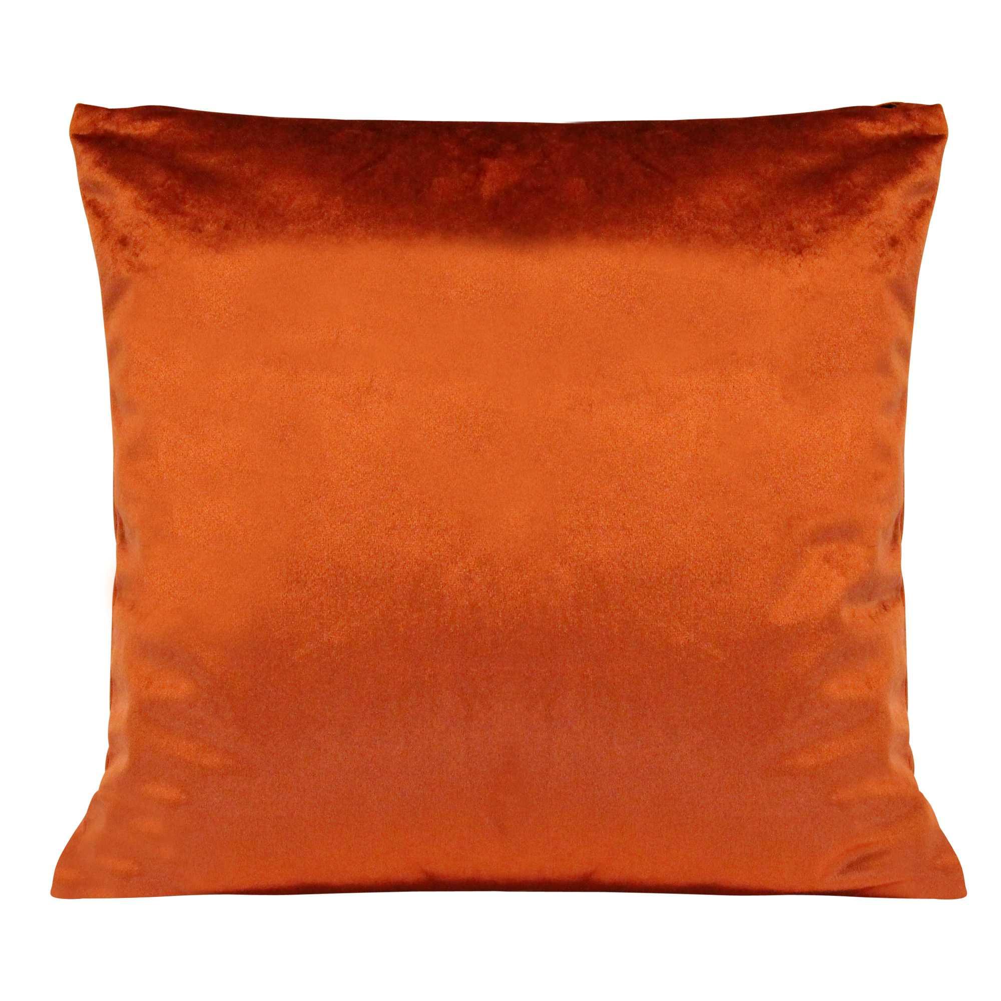 Burnt Orange Textured Velvet Square  Pillow