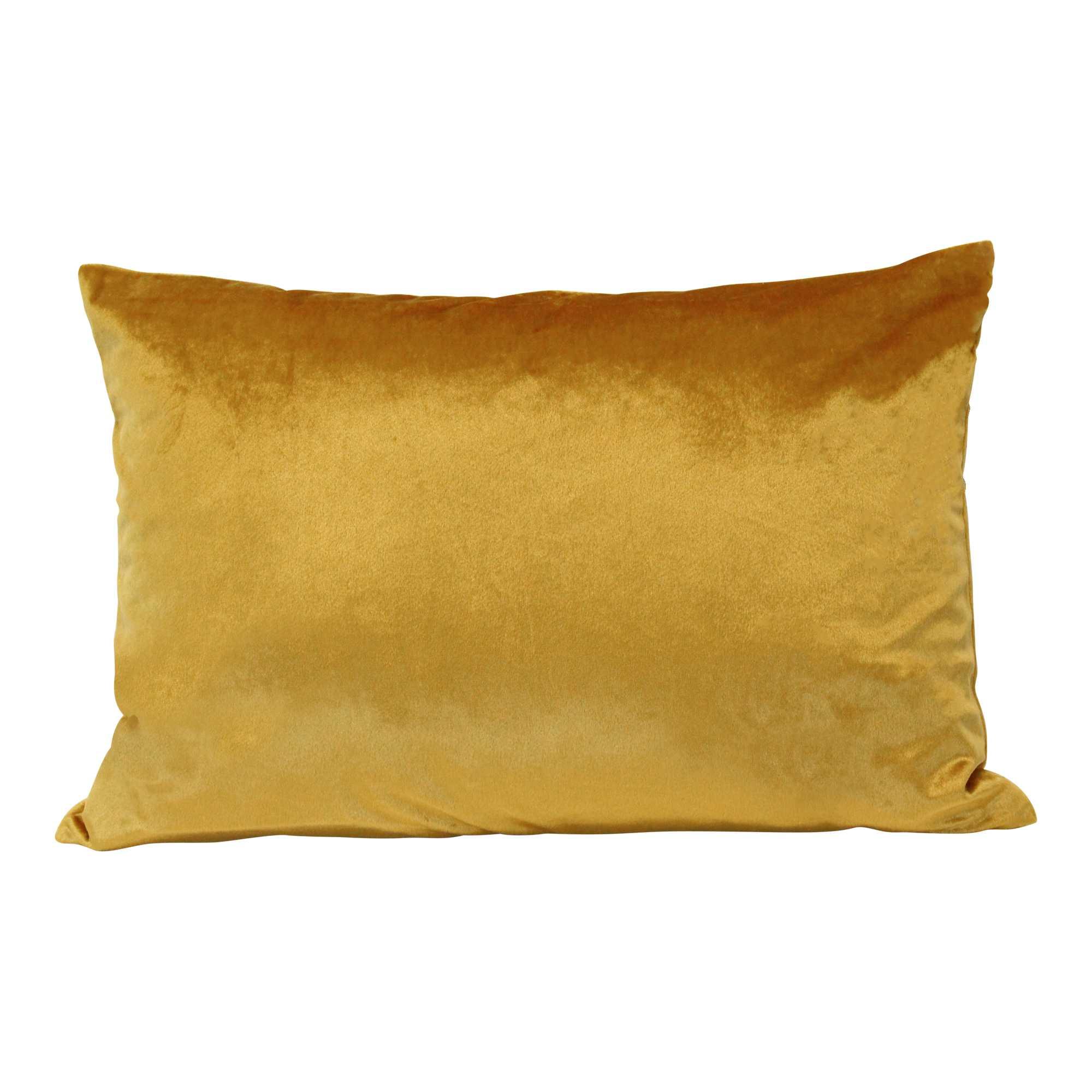 Gold Velvet Rectangular Lumbar Pillow