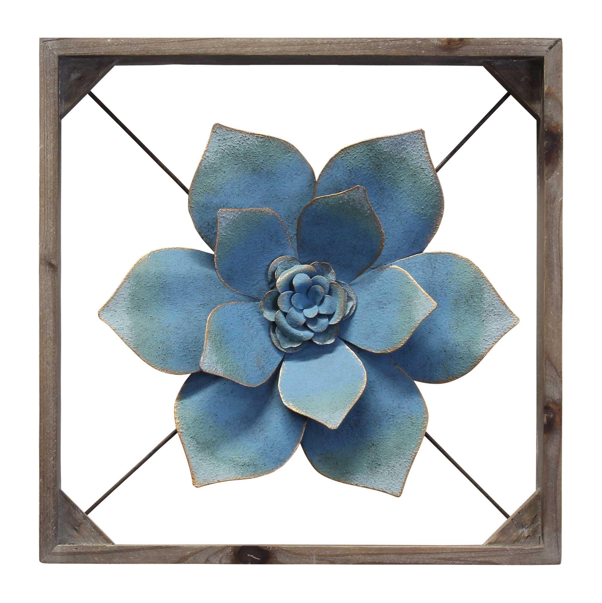Sophisticated Metal & Wood Framed Wall Flower