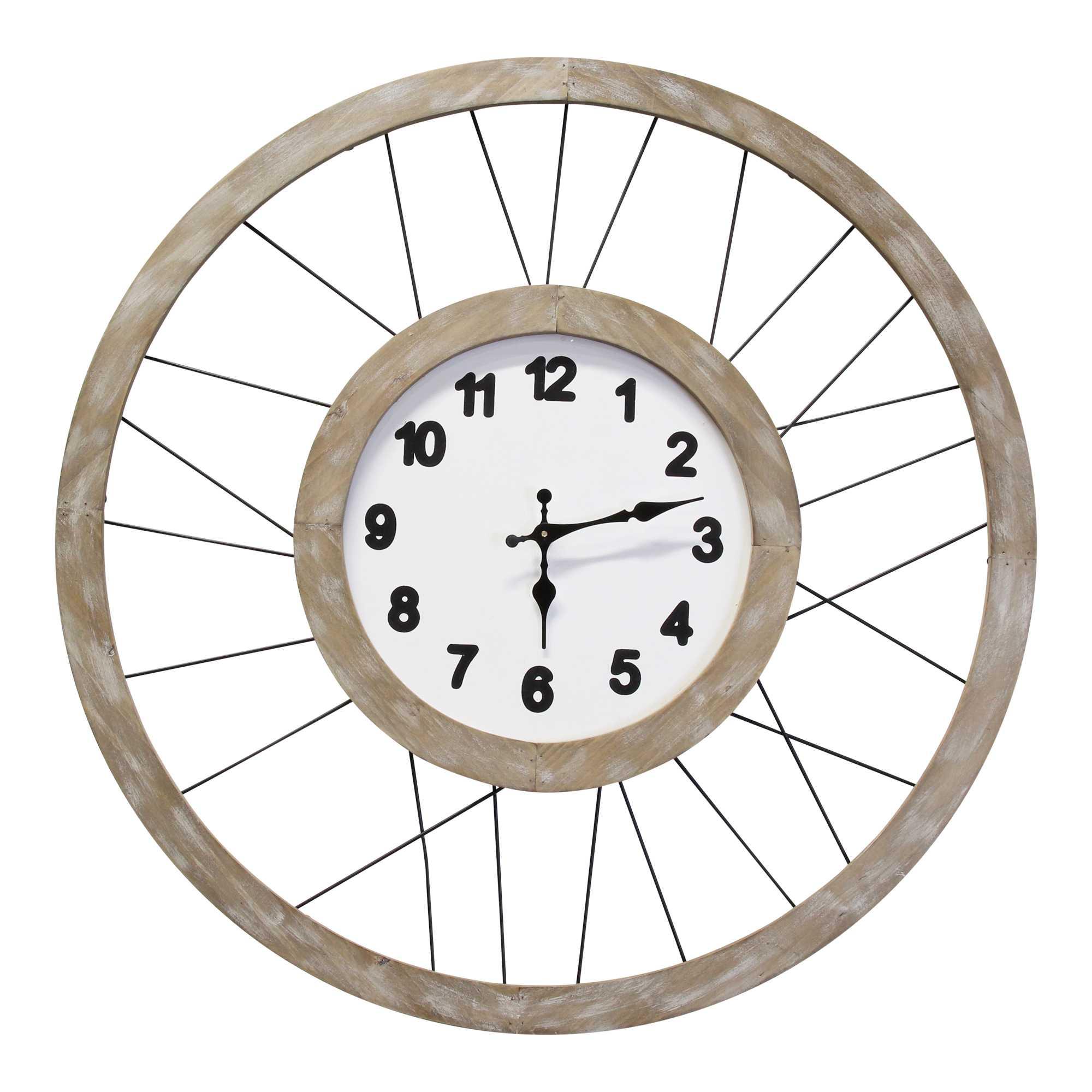 "28"" White Wood & Metal Frame / Wall Clock"