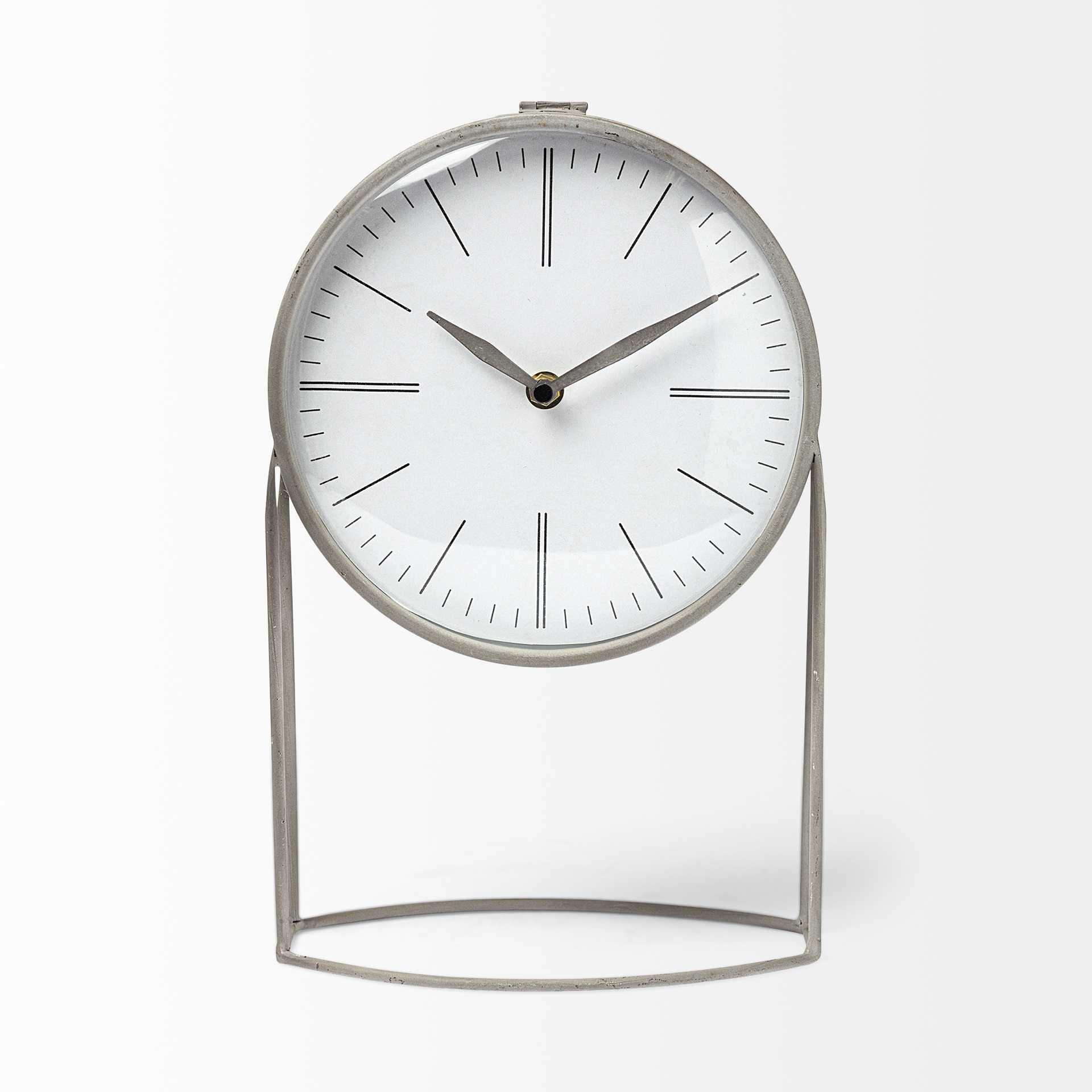 Gray Metal Circular Desk / Table Clock Equipped with a Quartz Movement