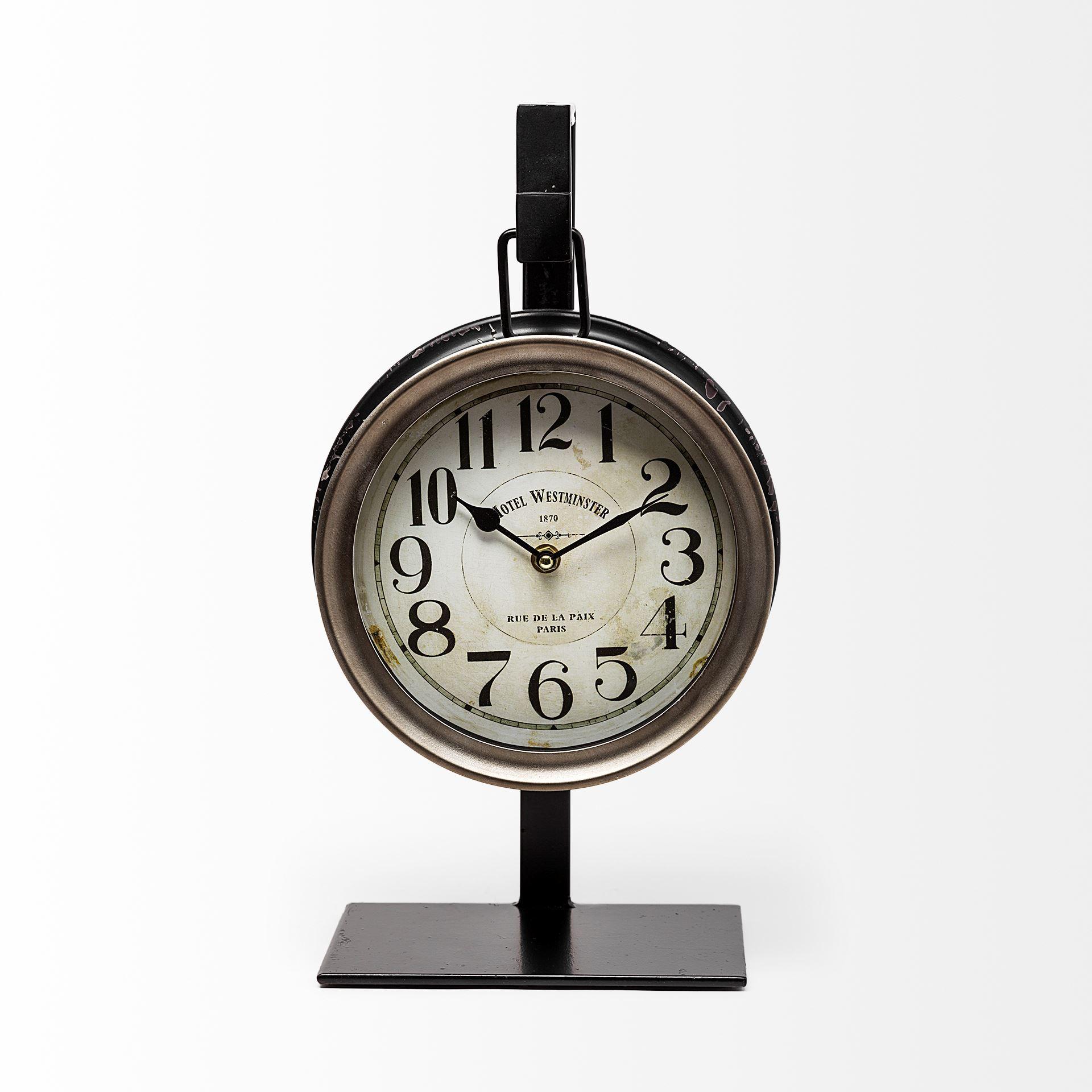 Metallic Brown Metal Hanging Desk/Table Clock