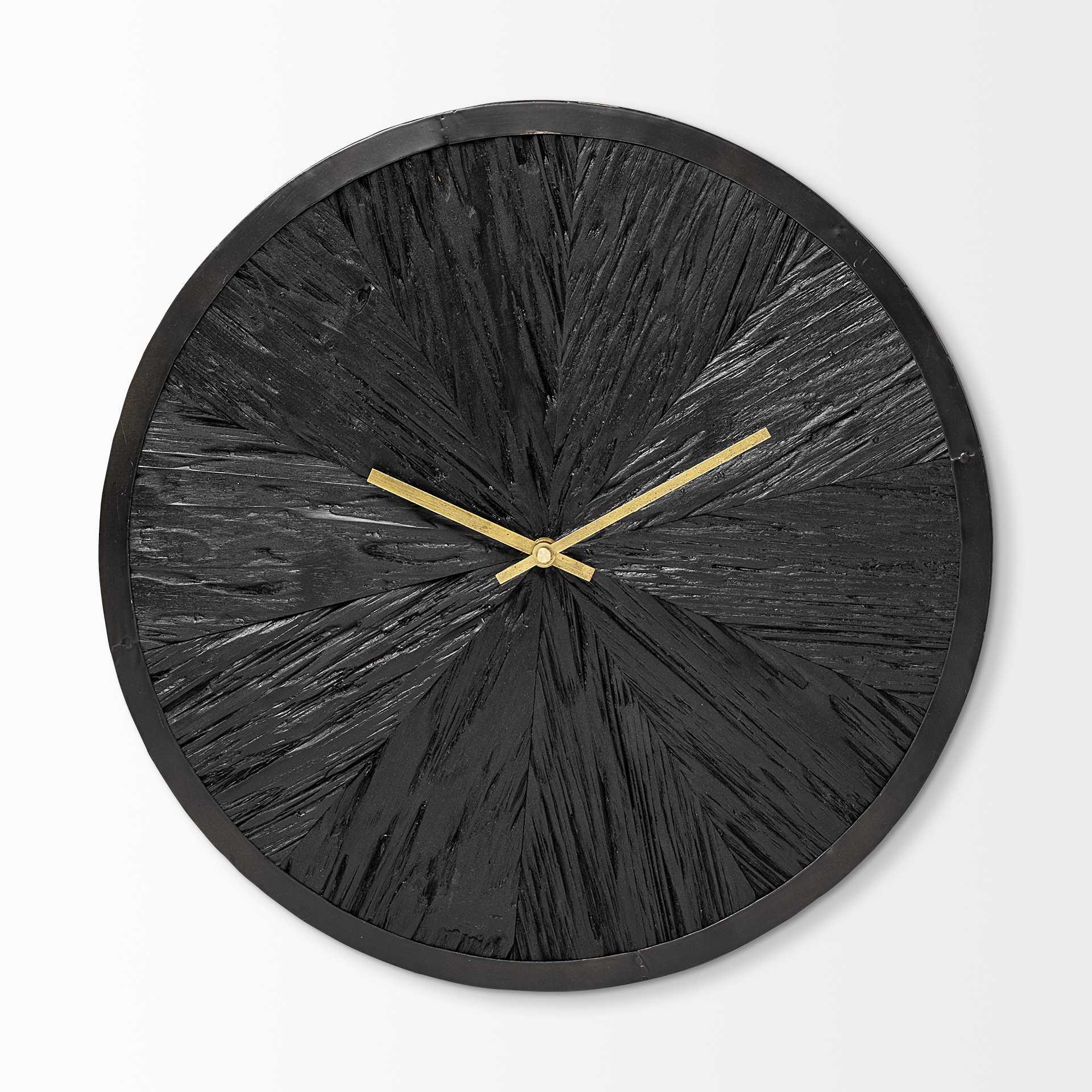"16.5"" Round Large Black Modern Wall Clock"