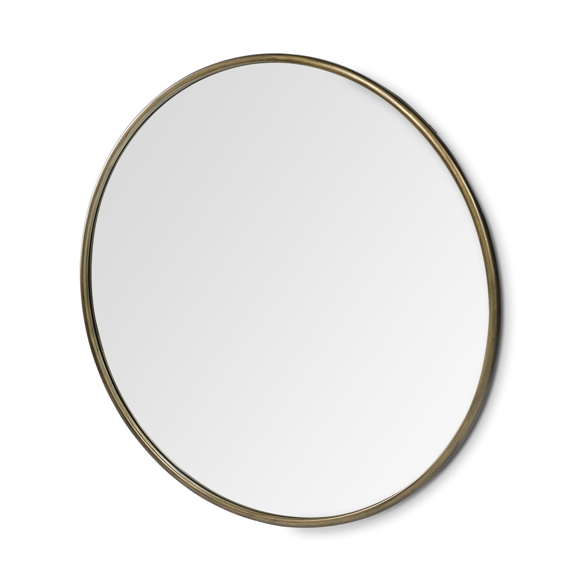 "47"" Round Gold Metal Frame Wall Mirror"