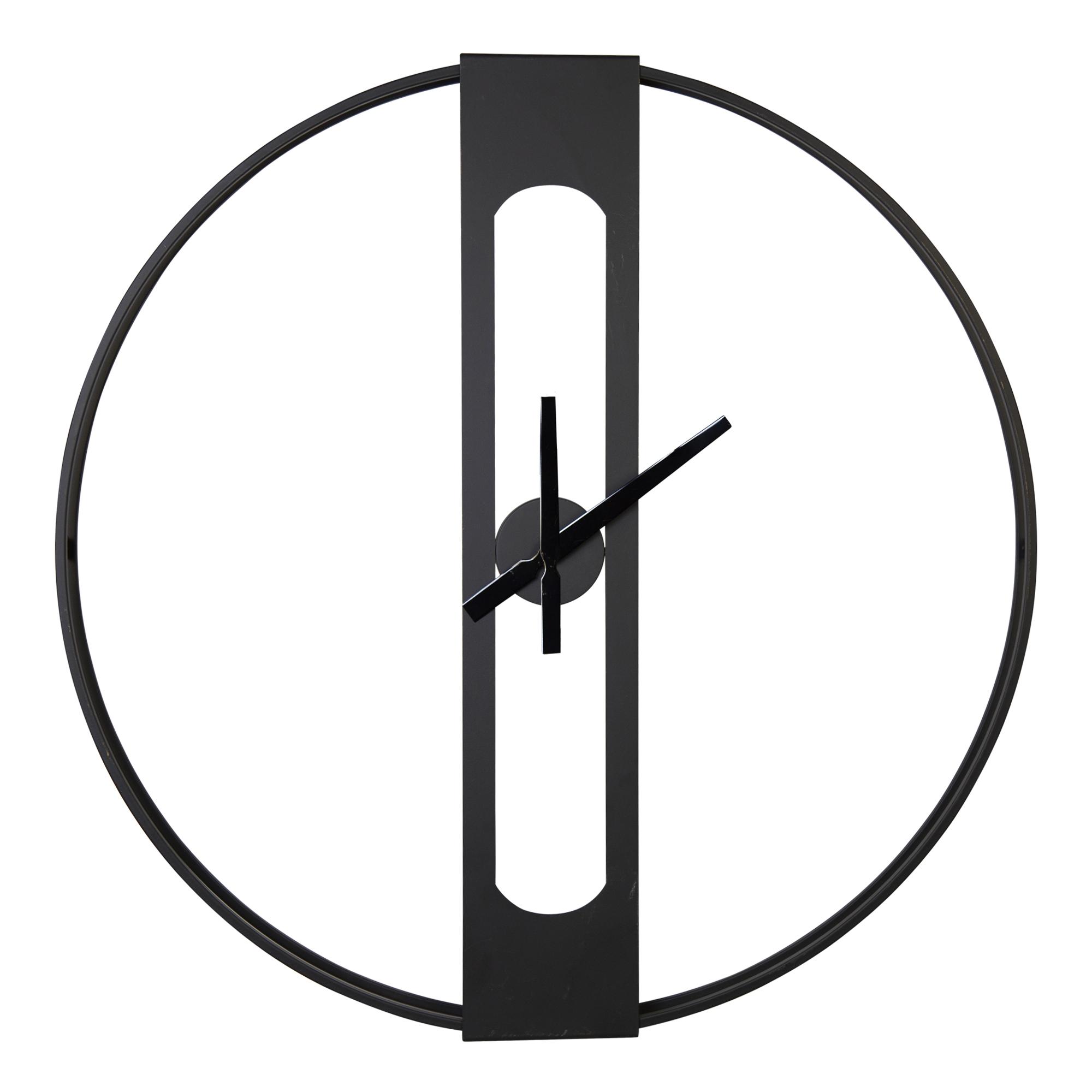 """28"""" Round Metal Matte Black Wall Clock"""