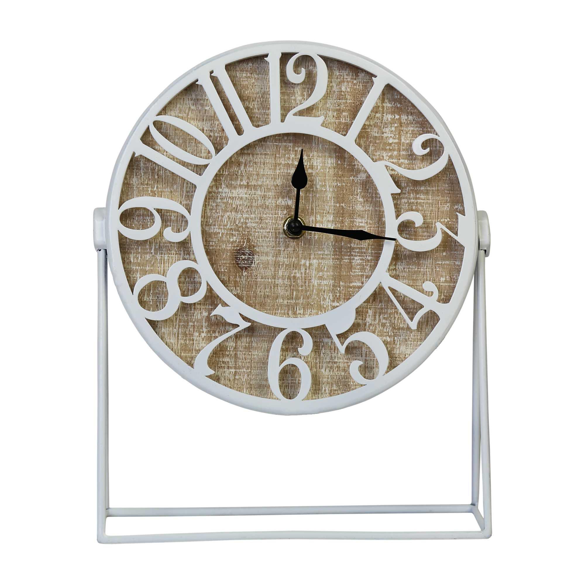 "9"" Round Semi-Glossy White Finish Desk Clock"