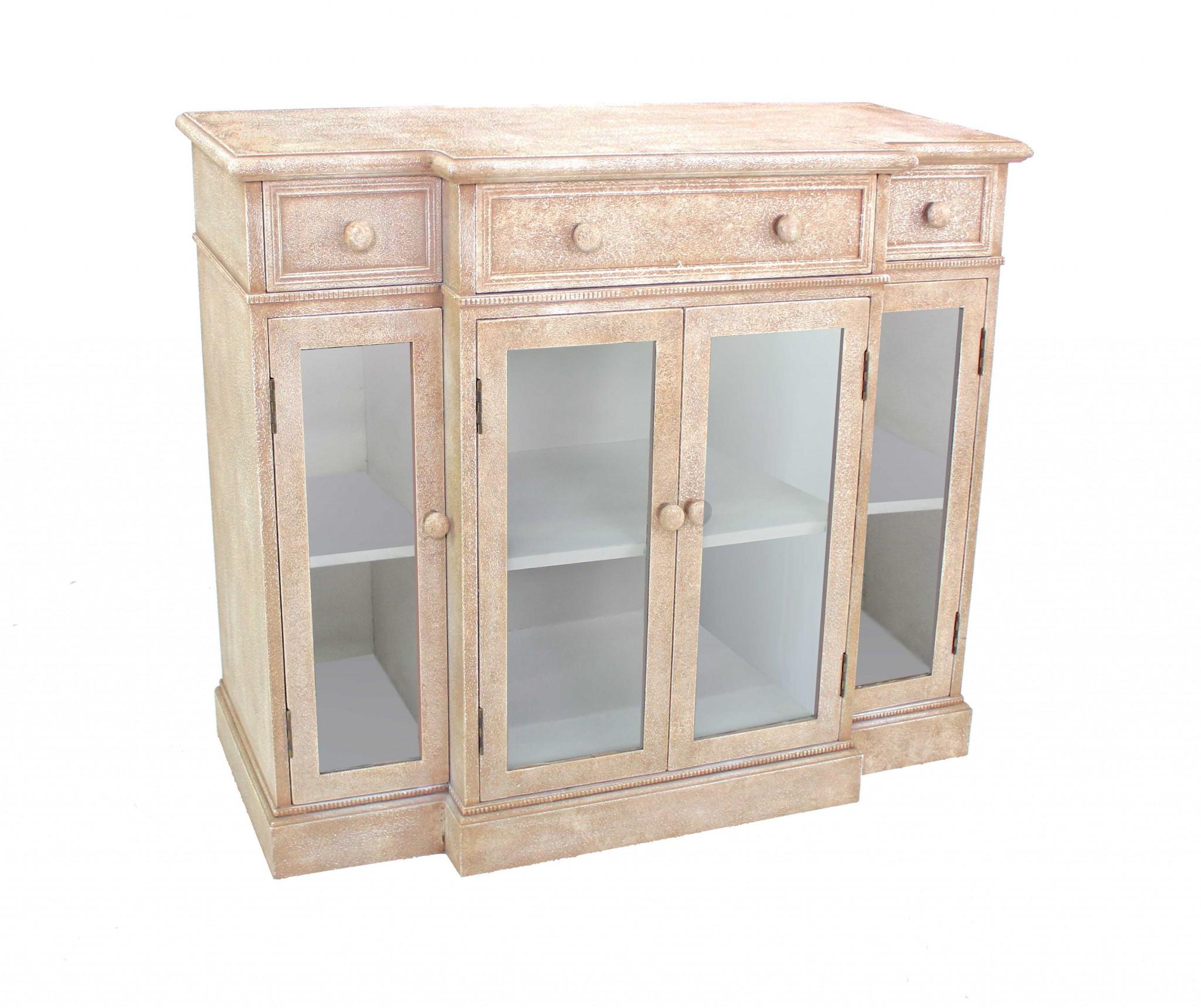 "14"" x 42"" x 34"" Beige, Vintage, French Style, Distressed - Hallway Cabinet"