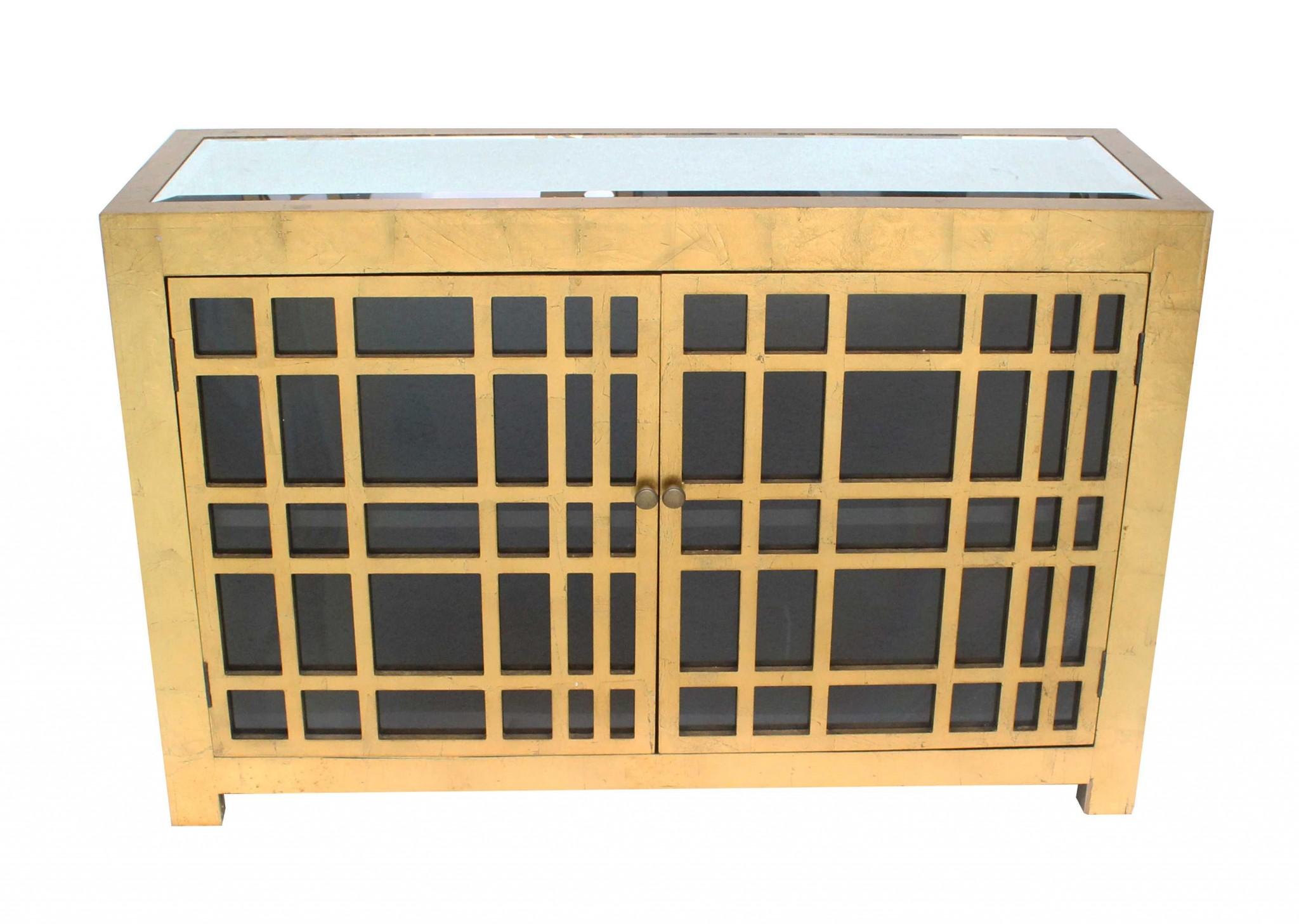 "16"" x 48"" x 32"" Gold, Rustic Lattice, Wood - Cabinet"