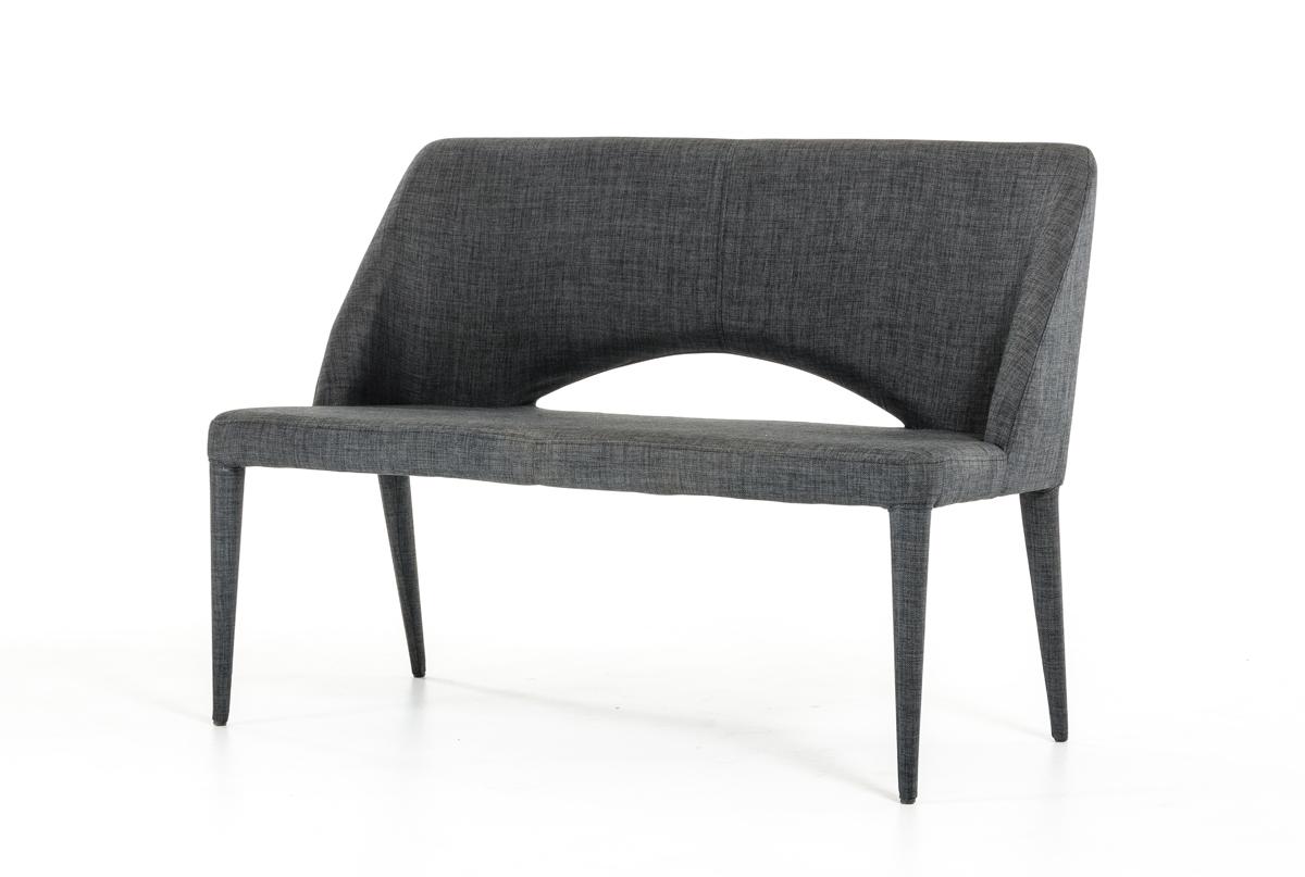 "32"" Dark Grey Fabric and Metal Bench"