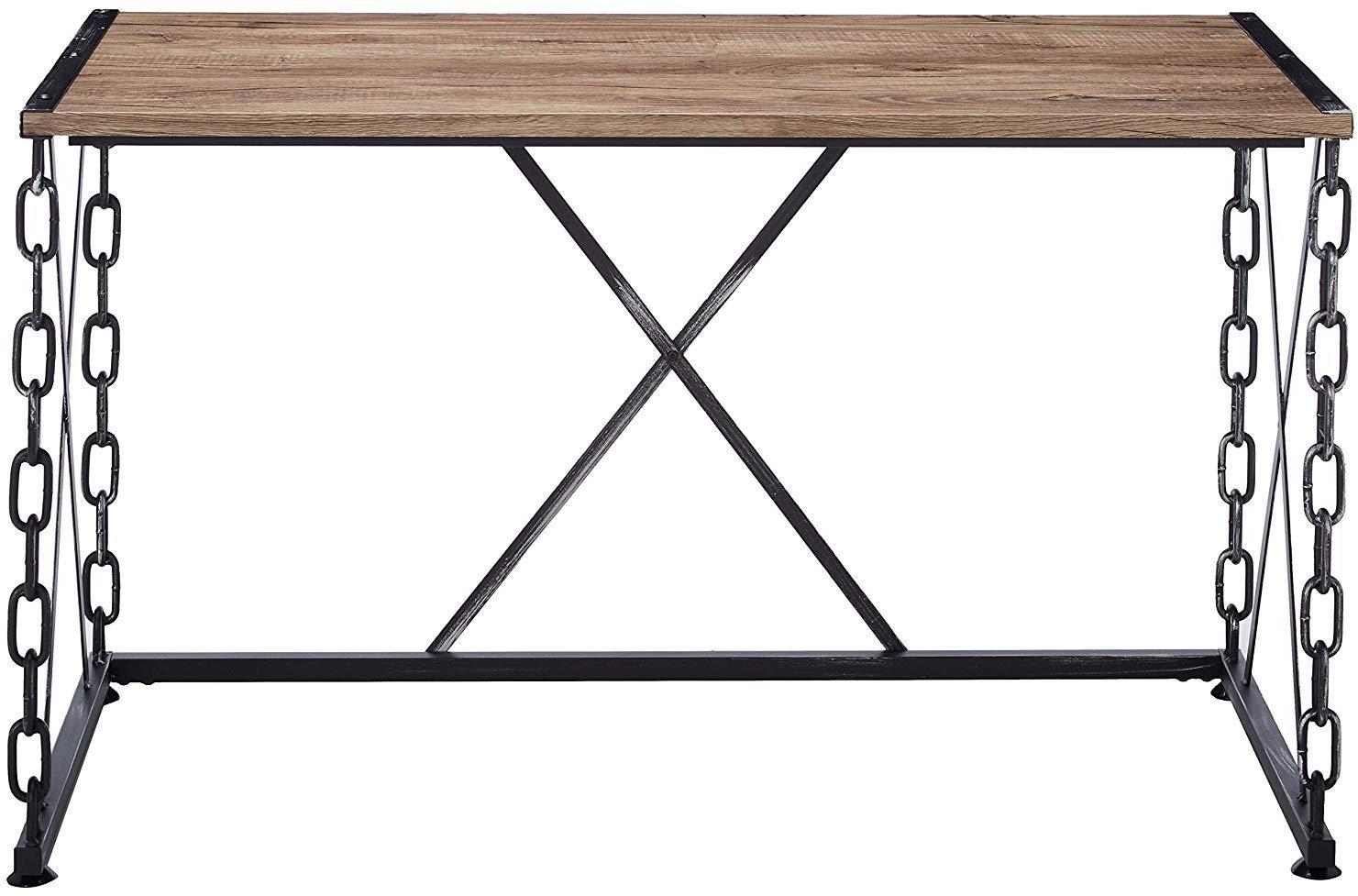 "48"" X 24"" X 28"" Rustic Oak And Antique Black Particle Board Desk"