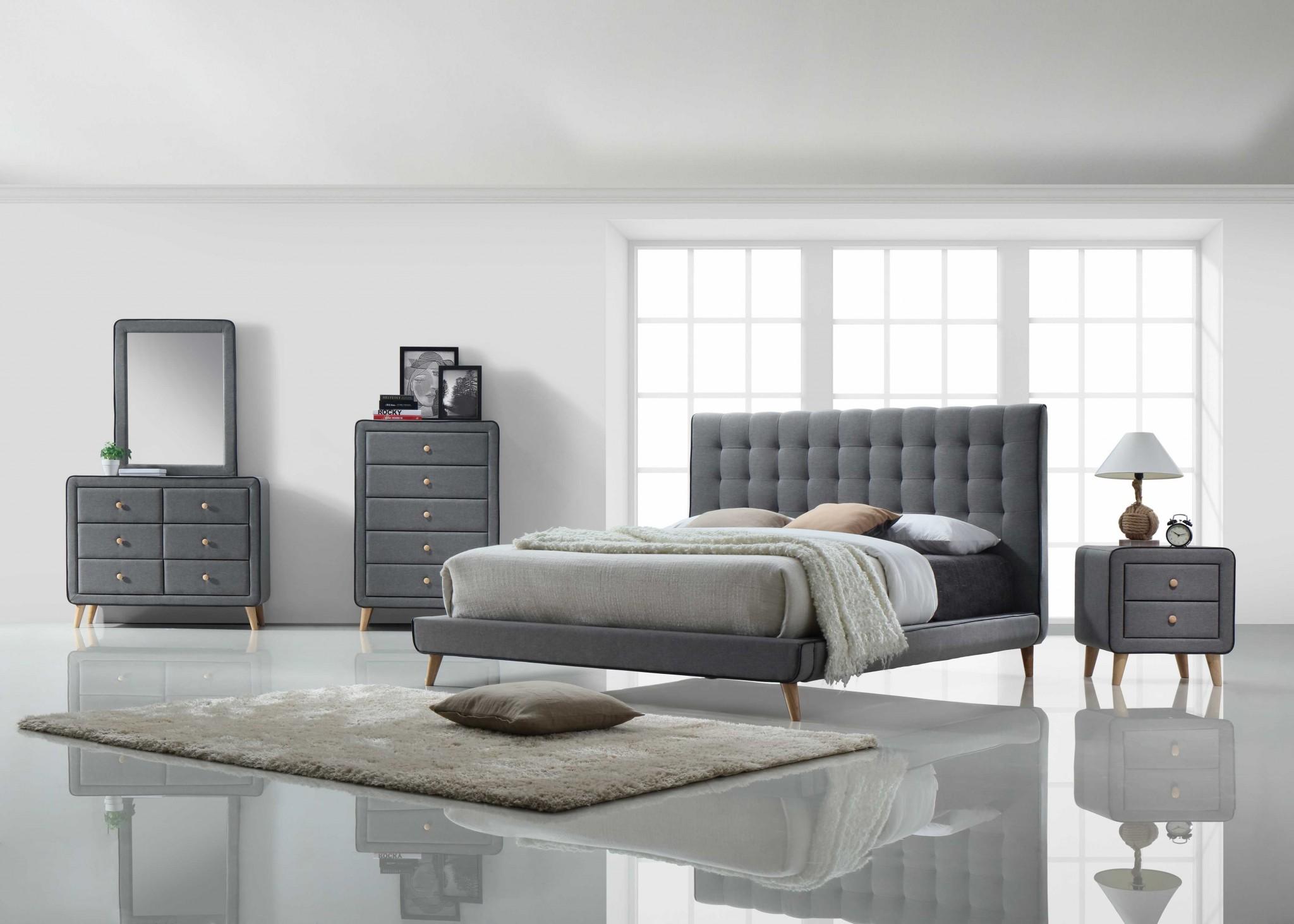 "43"" X 16"" X 34"" Light Gray Fabric Dresser"