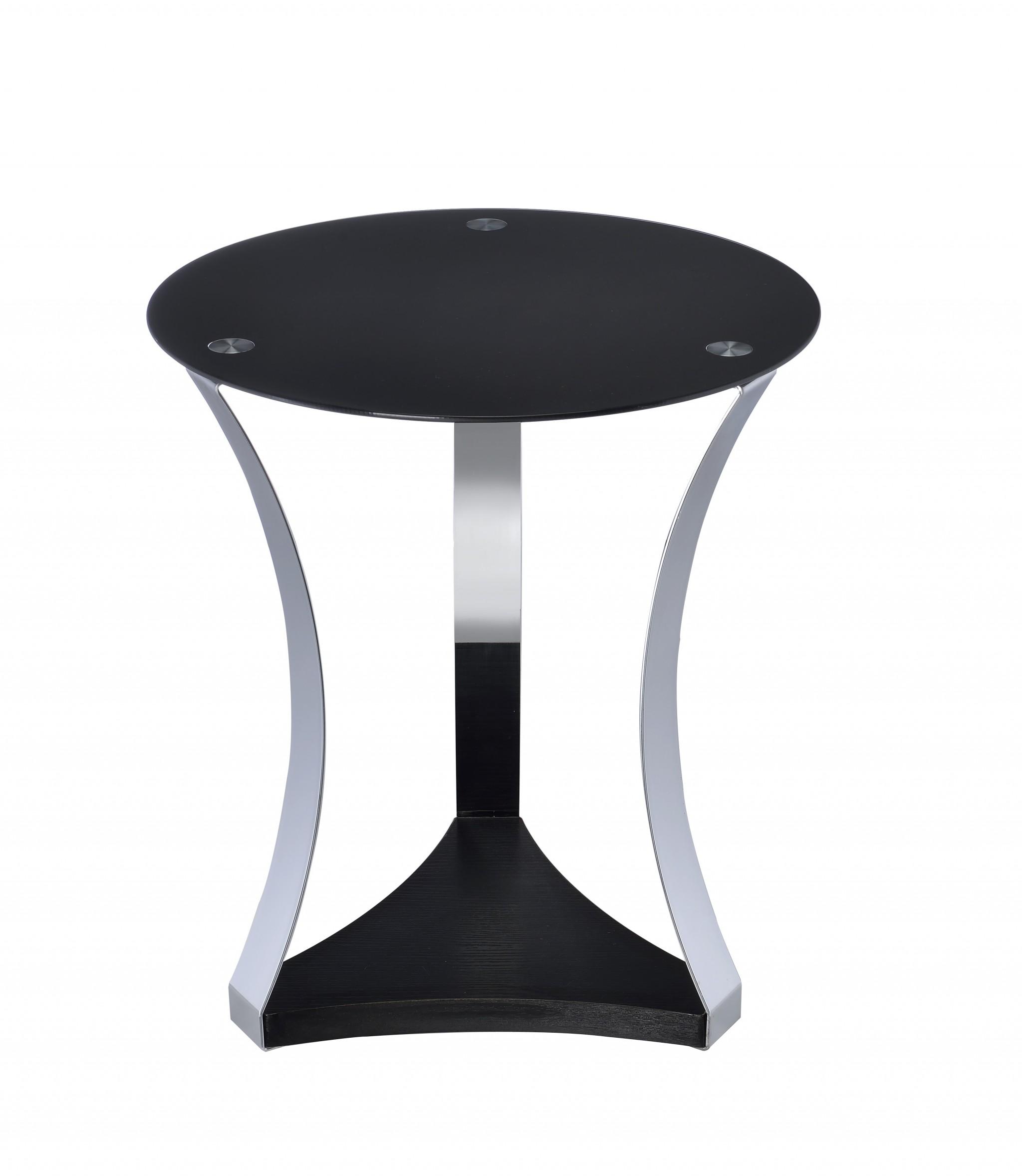 "18"" X 18"" X 20"" Black Glass & Chrome End Table"