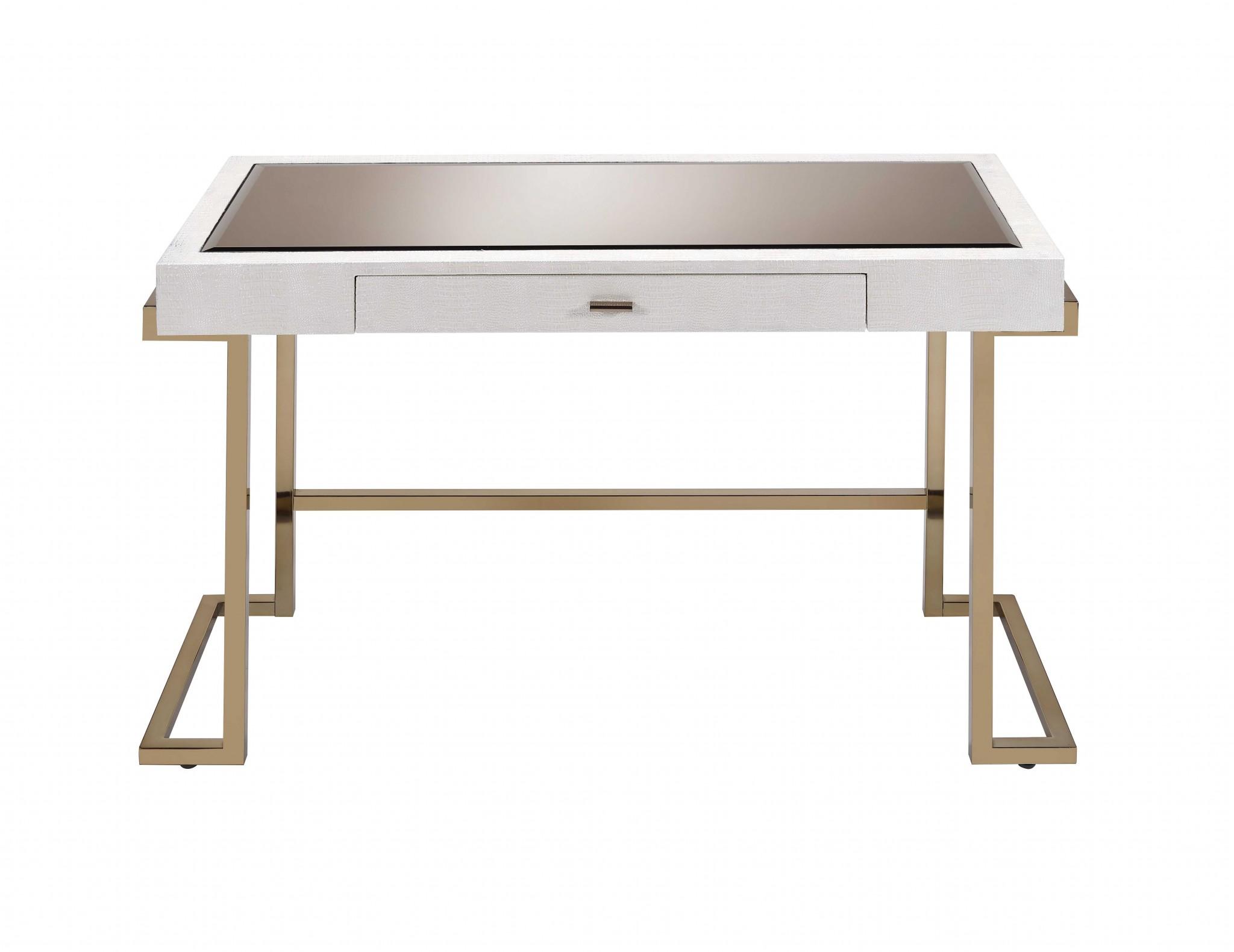 """44"""" X 19"""" X 30"""" White And Champagne Desk"""