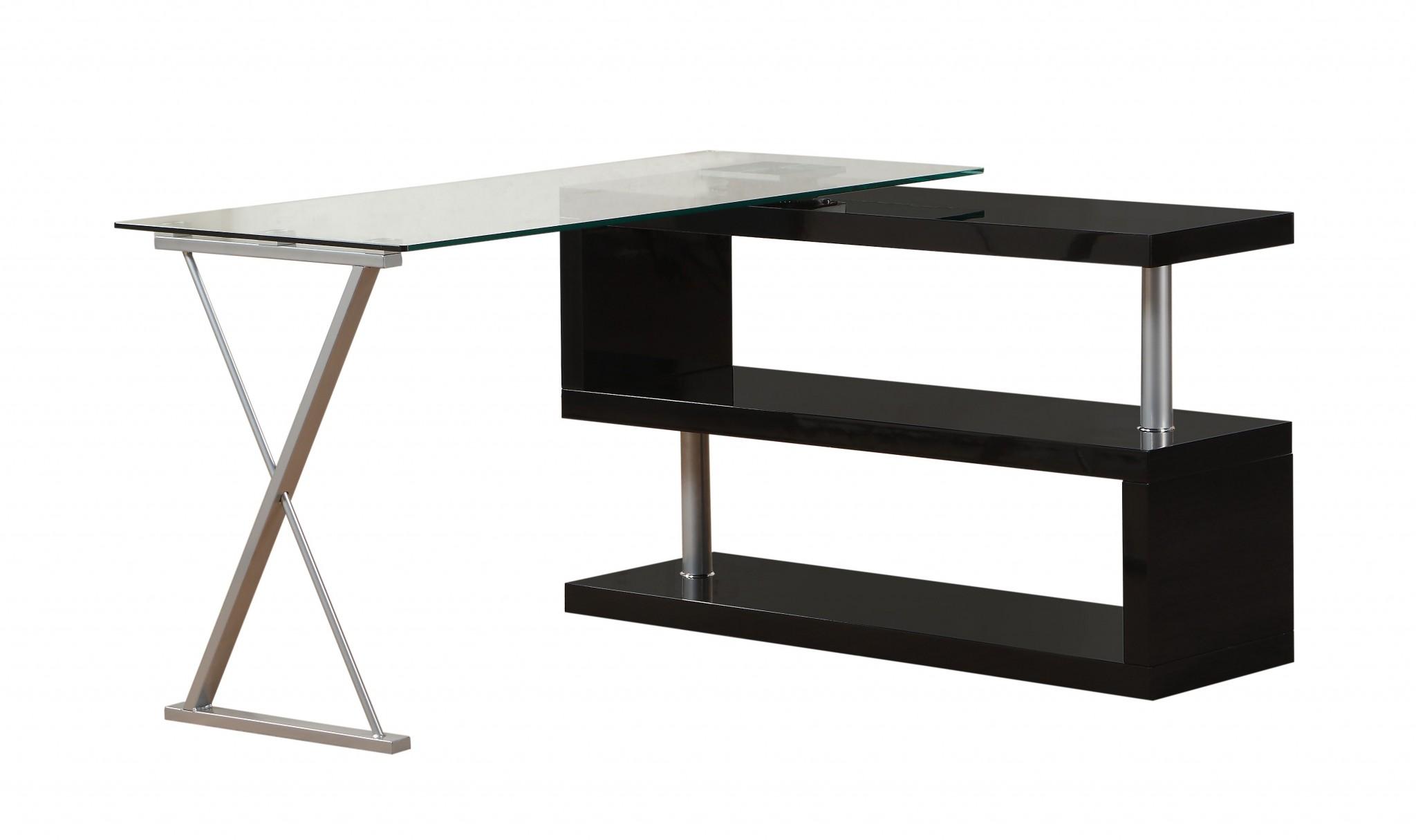 "55"" X 47"" X 30"" Black High Gloss & Clear Glass Office Desk"