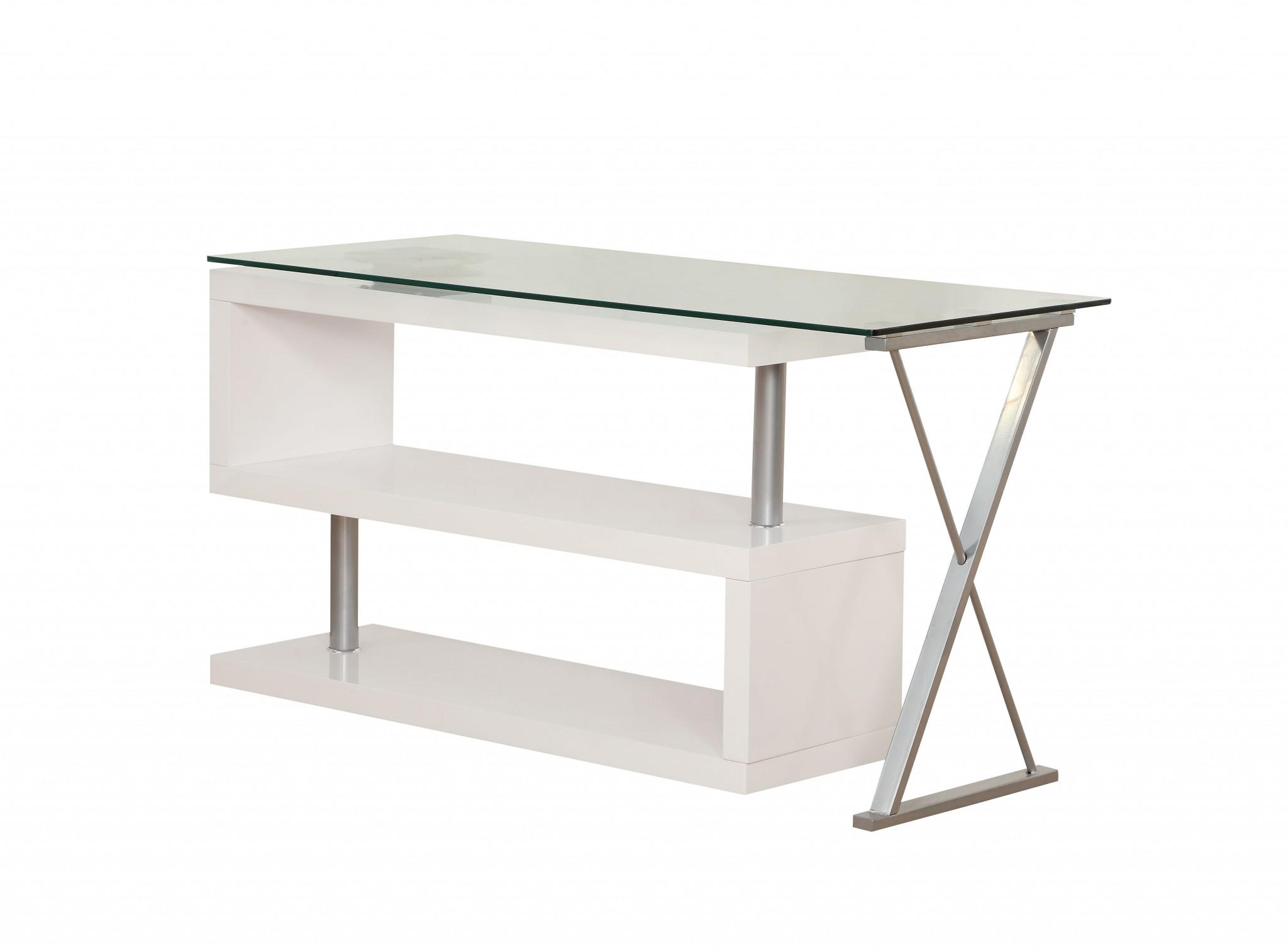 "55"" X 47"" X 30"" White High Gloss & Clear Glass Office Desk"