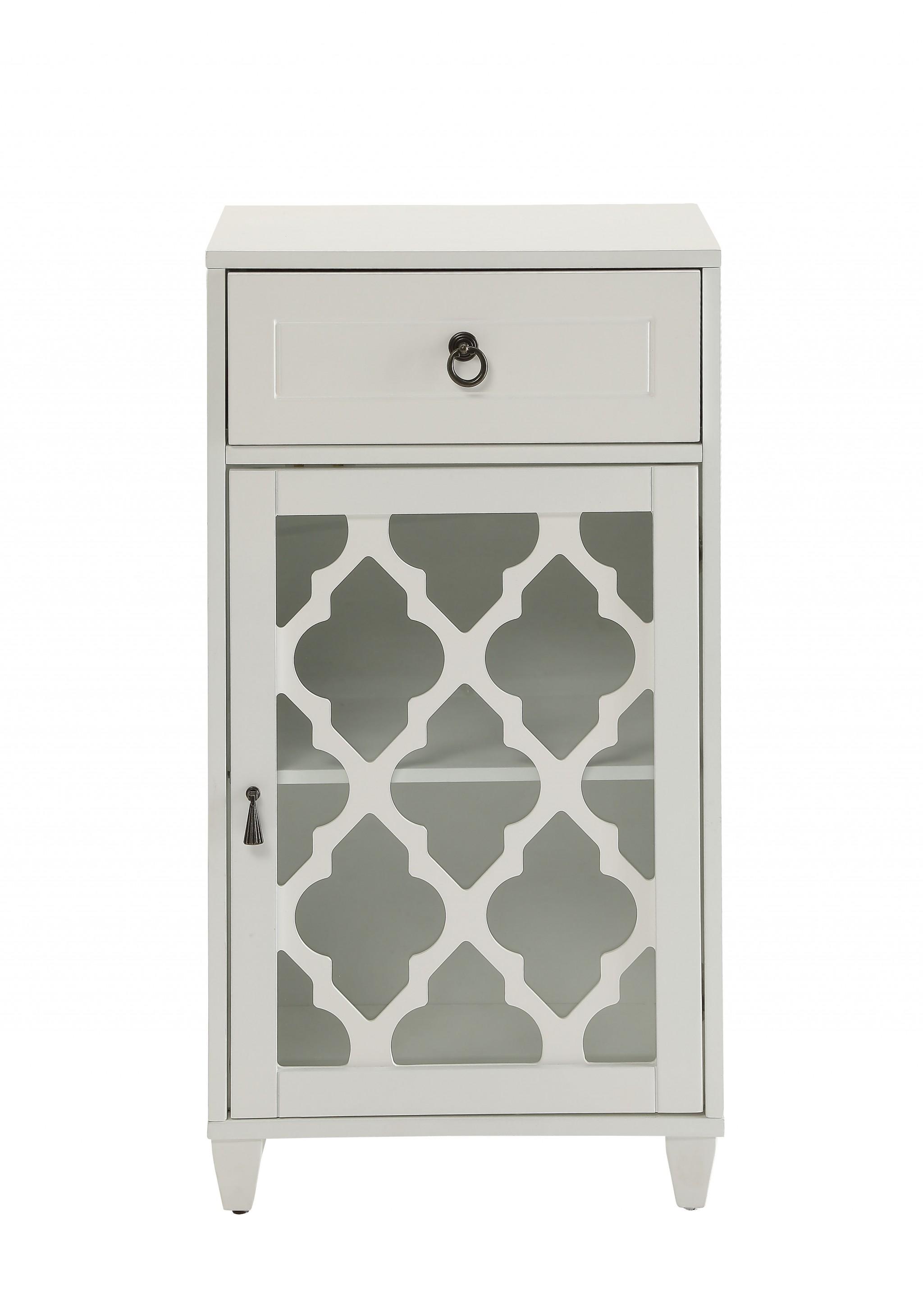 Fret Work Design Glass Door White Cabinet