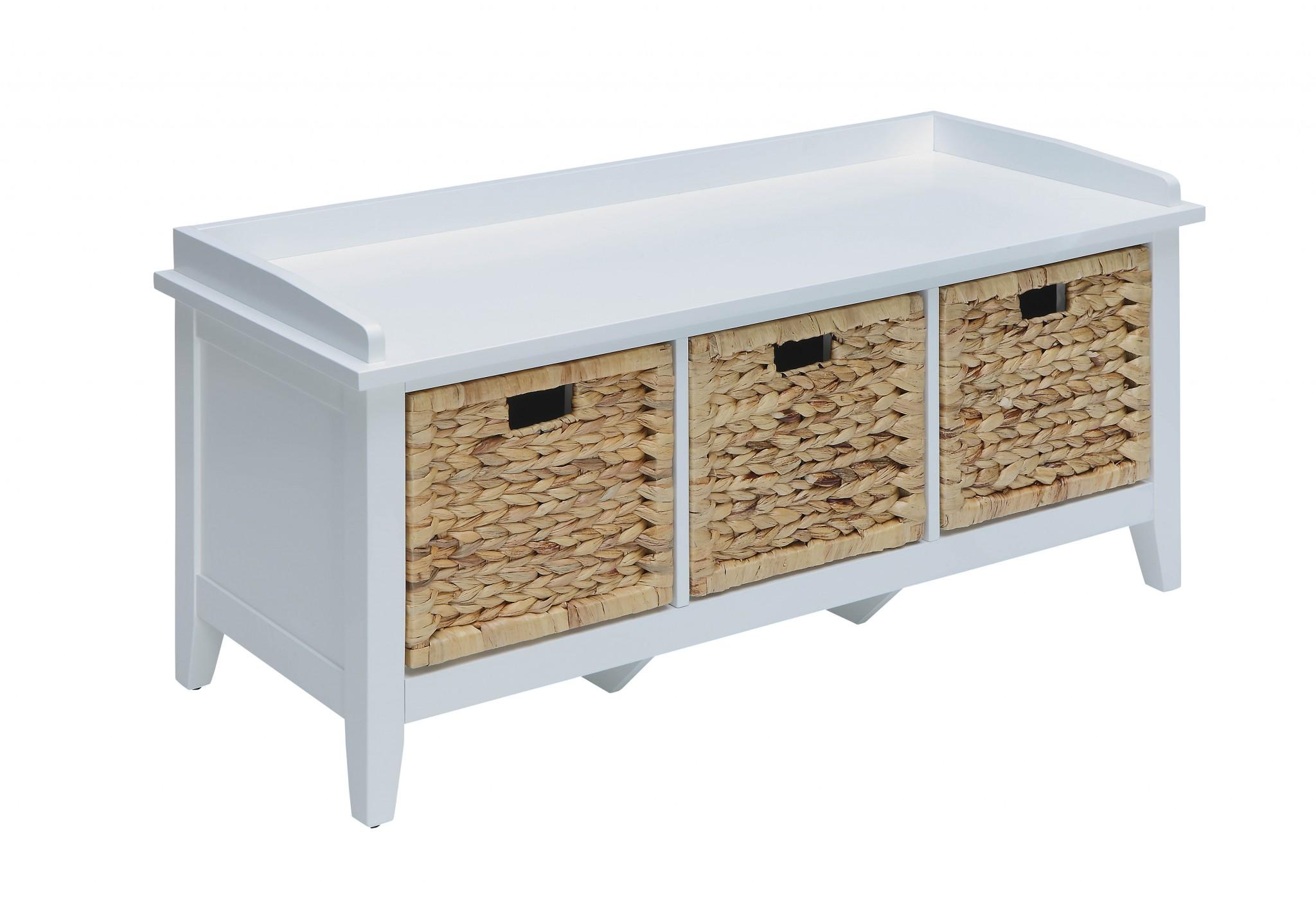 "43"" X 16"" X 19"" White Solid Wood Leg Storage Bench"