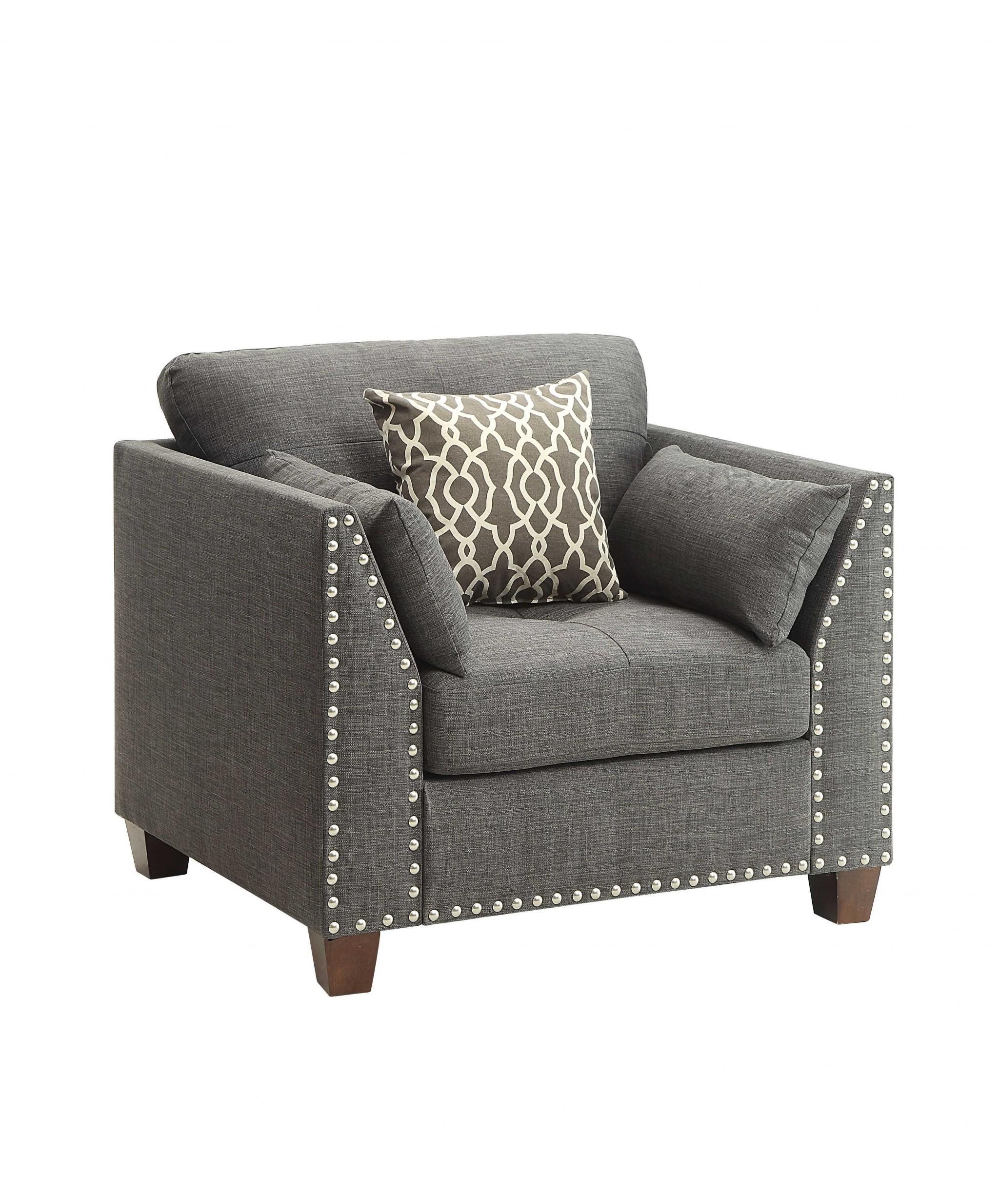 """34"""" X 31"""" X 35"""" Light Charcoal Linen Chair"""