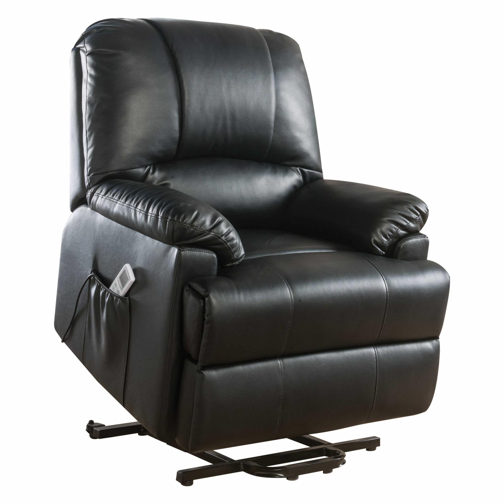 "34"" X 37"" X 41"" Black Leatherette Power Lift Massage Recliner"