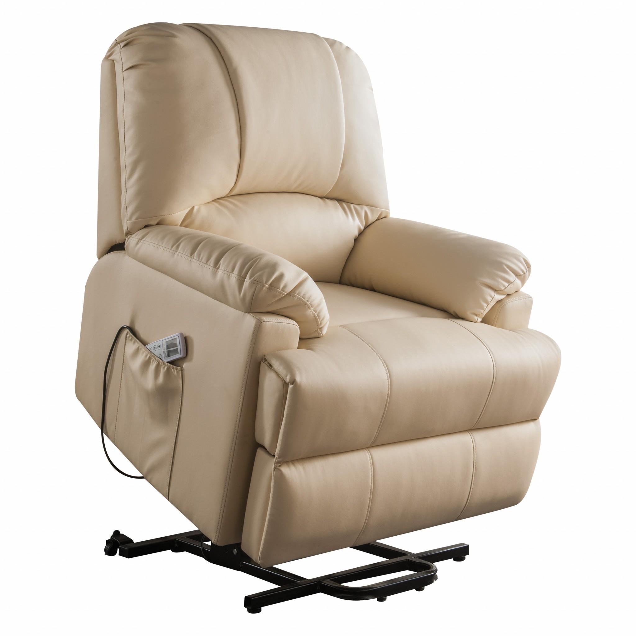 "34"" X 37"" X 41"" Beige Leatherette Power Lift Massage Recliner"