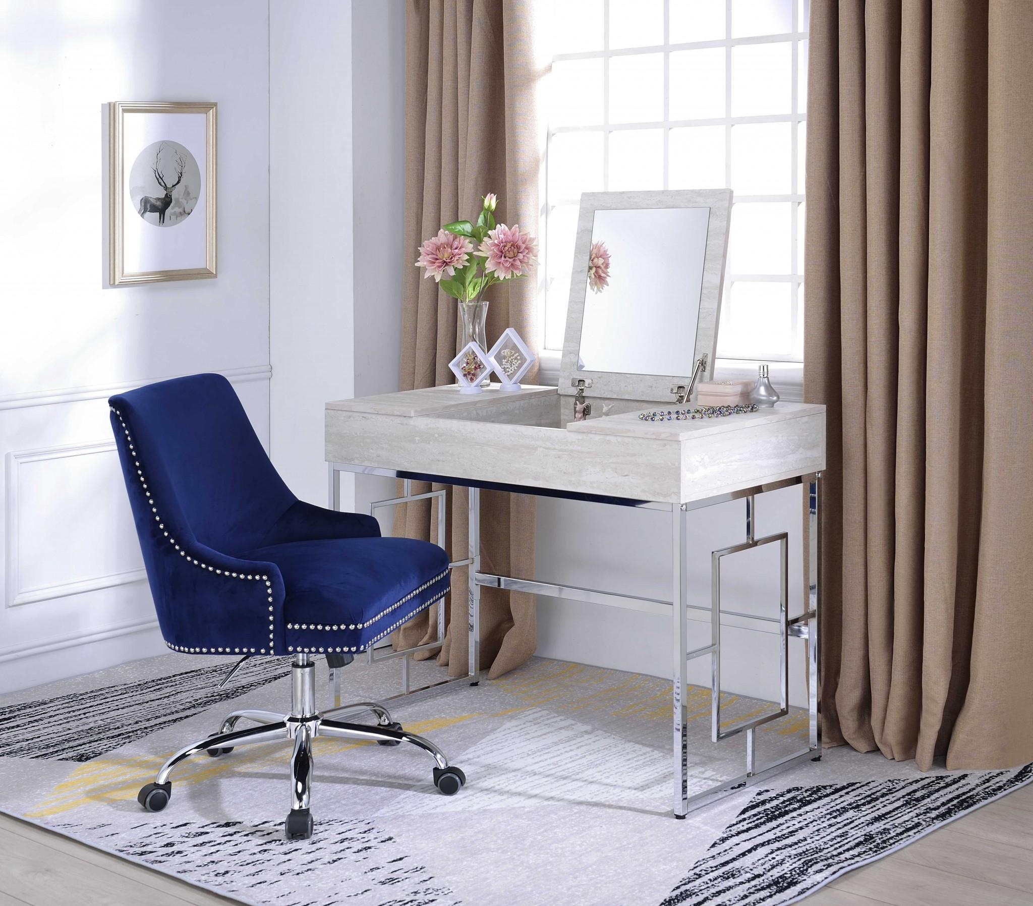 Modern Chic Whitewash Vanity Desk