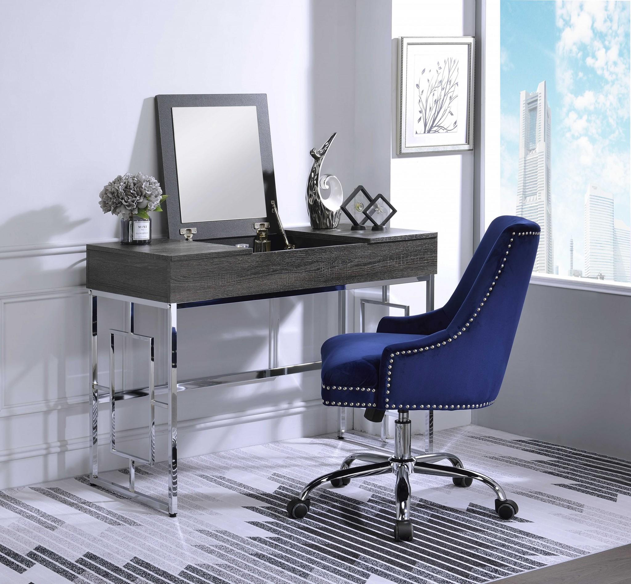 "44"" X 20"" X 32"" Chrome And Black Metal Tube Vanity Desk"