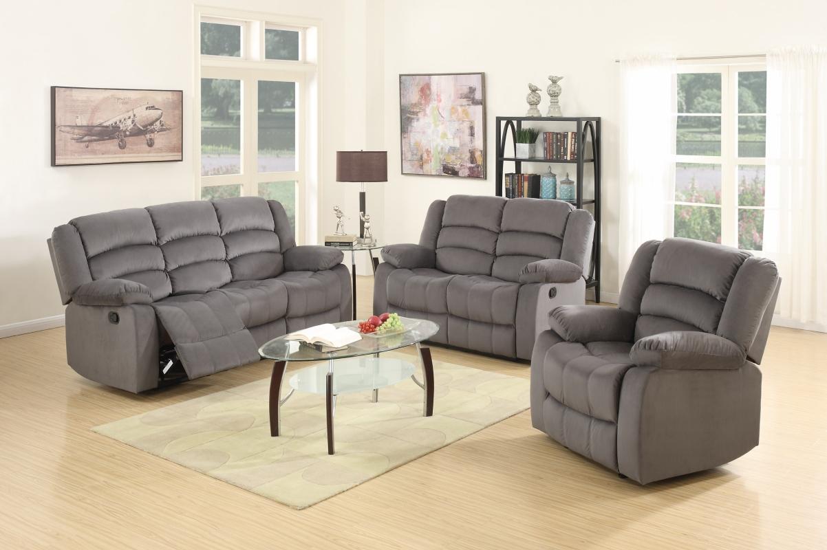 """120"""" Contemporary Gray Fabric Sofa Set"""