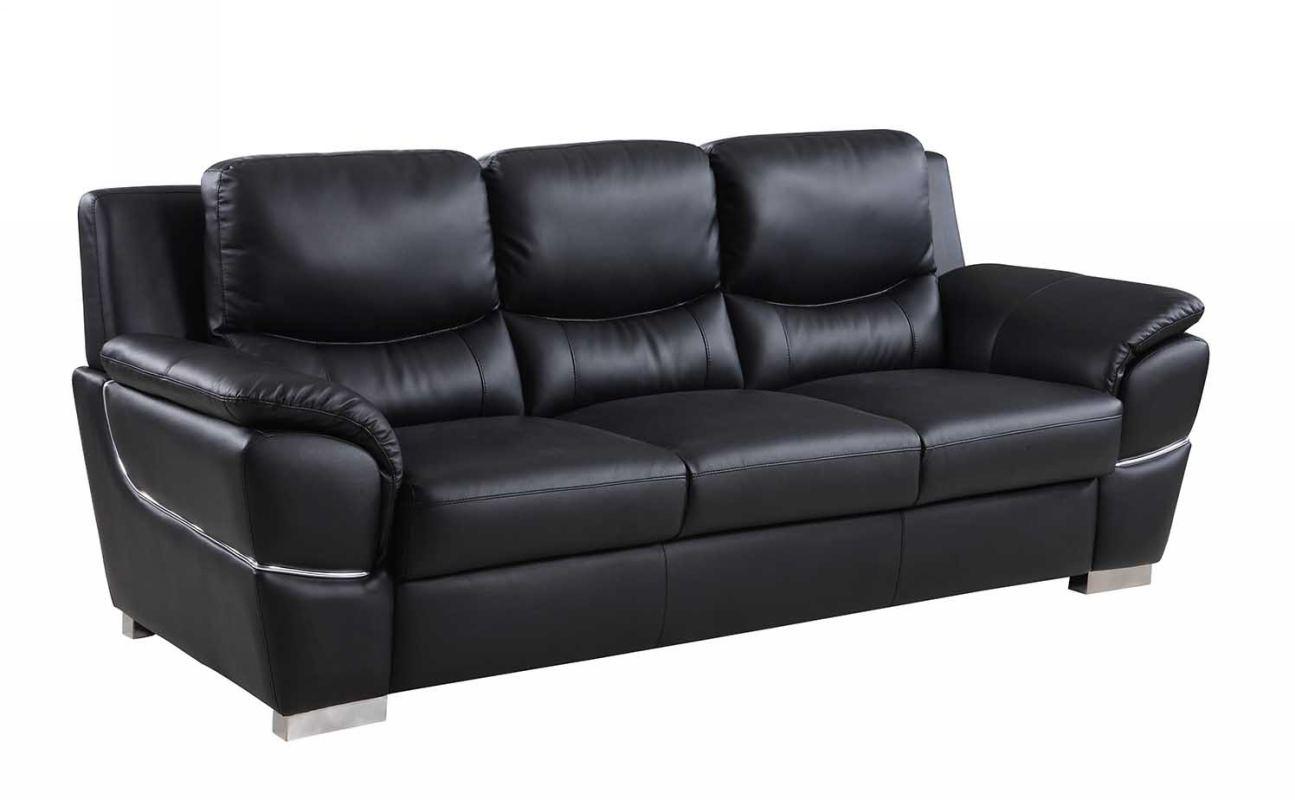 "37"" Chic Black Leather Sofa"