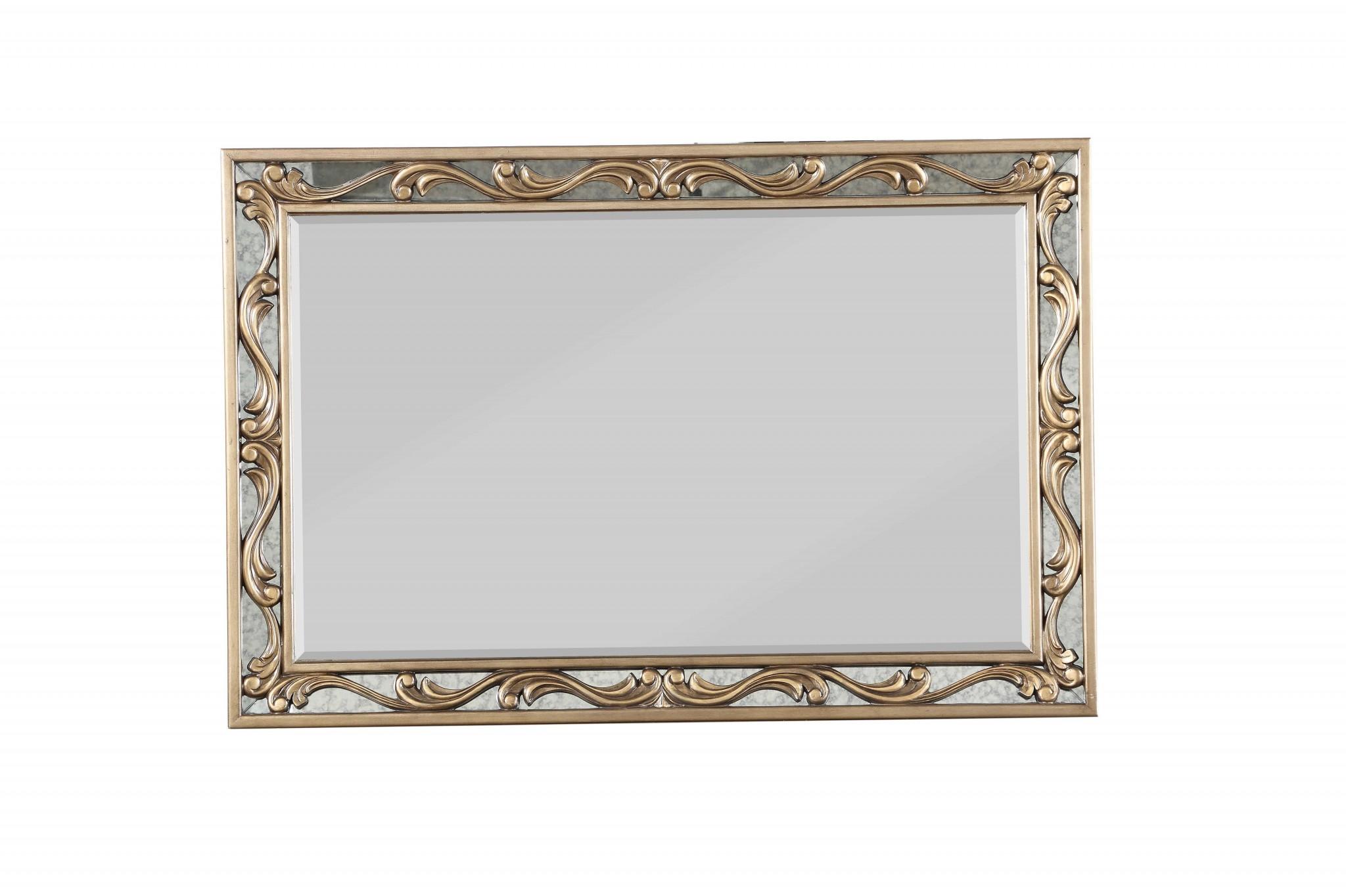 "2"" X 48"" X 32"" Antique Gold Wood Mirror"