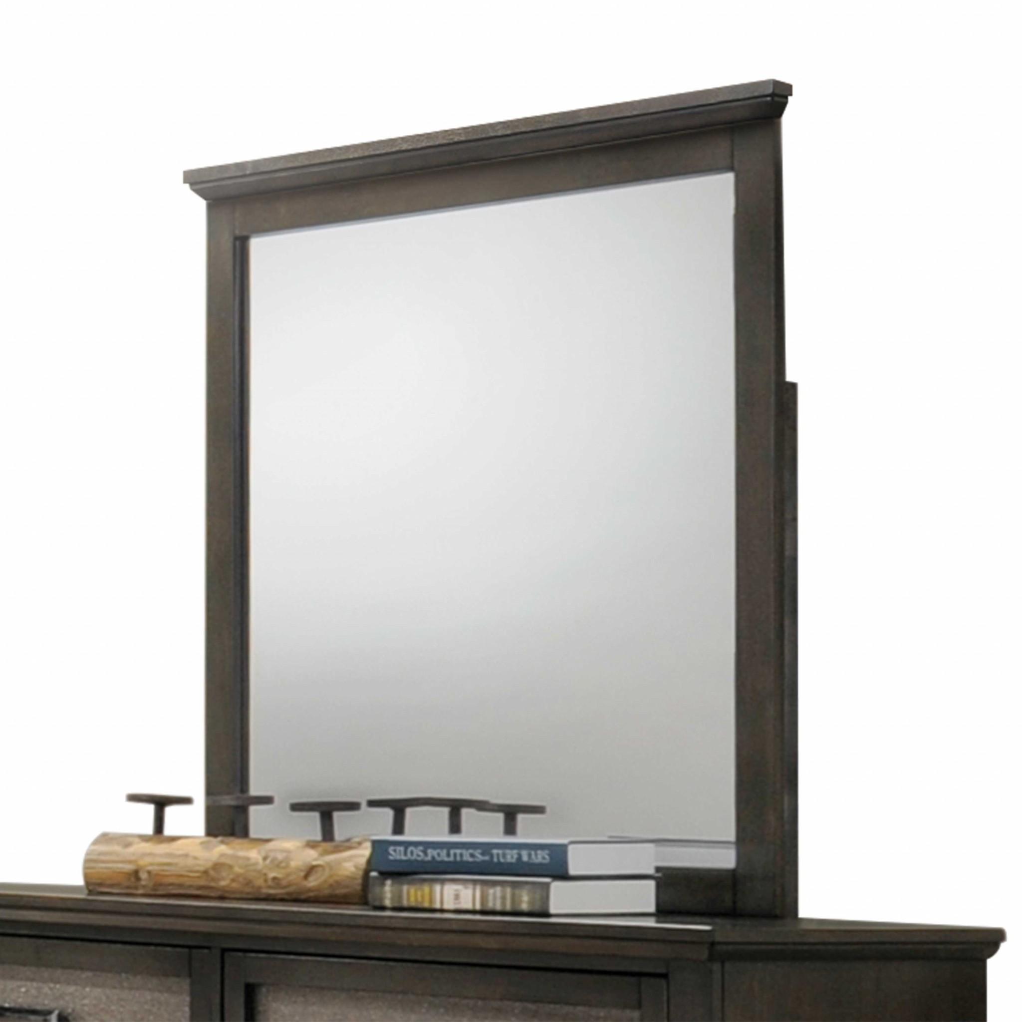 """36"""" X 36"""" Dark Walnut Wood Mirror"""
