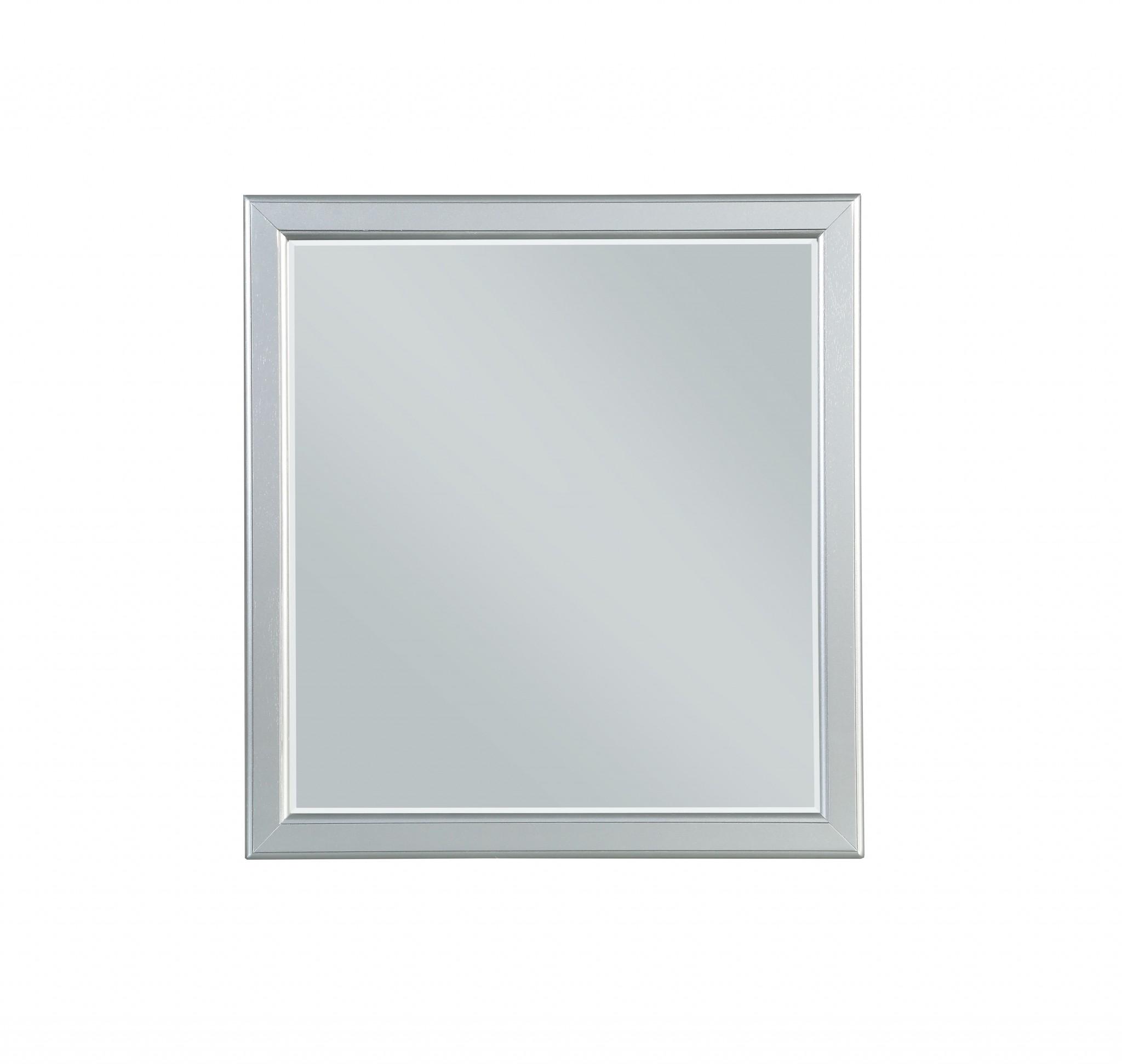 """36"""" X 38"""" Square Platinum Wood Mirror"""