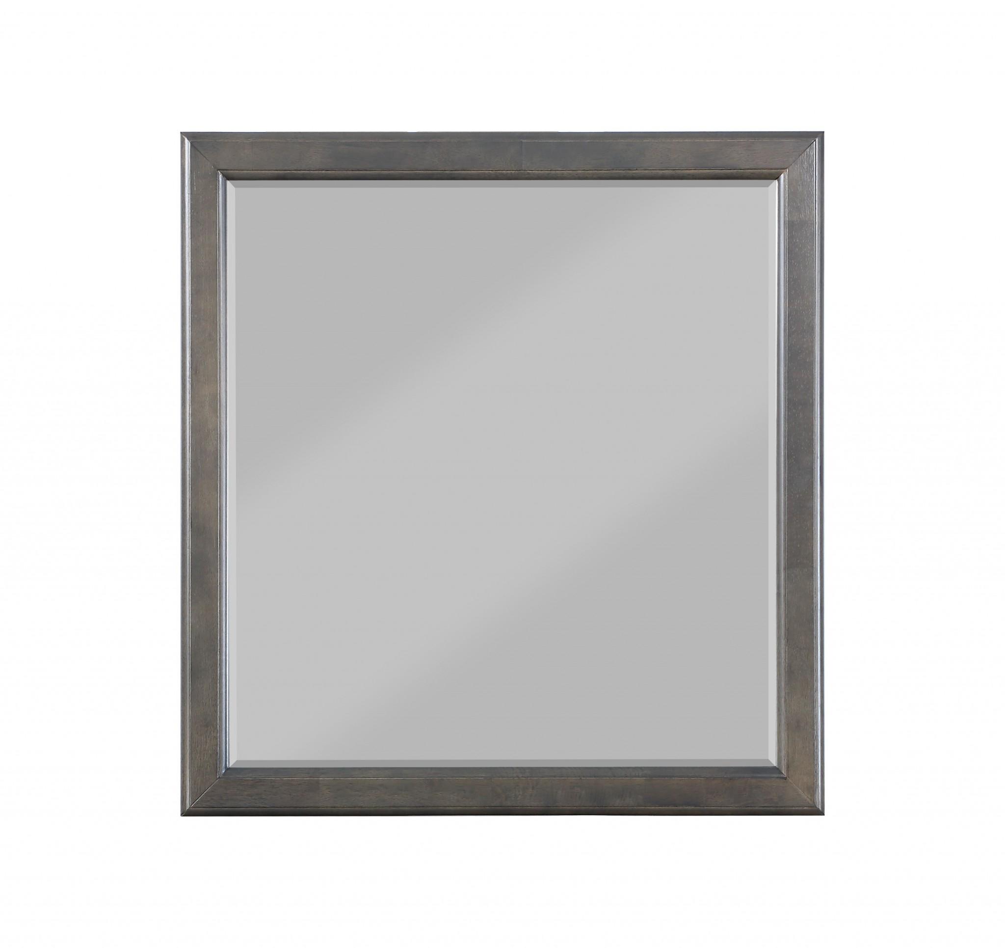 """36"""" X  1"""" X 38"""" Dark Gray Wood Mirror"""