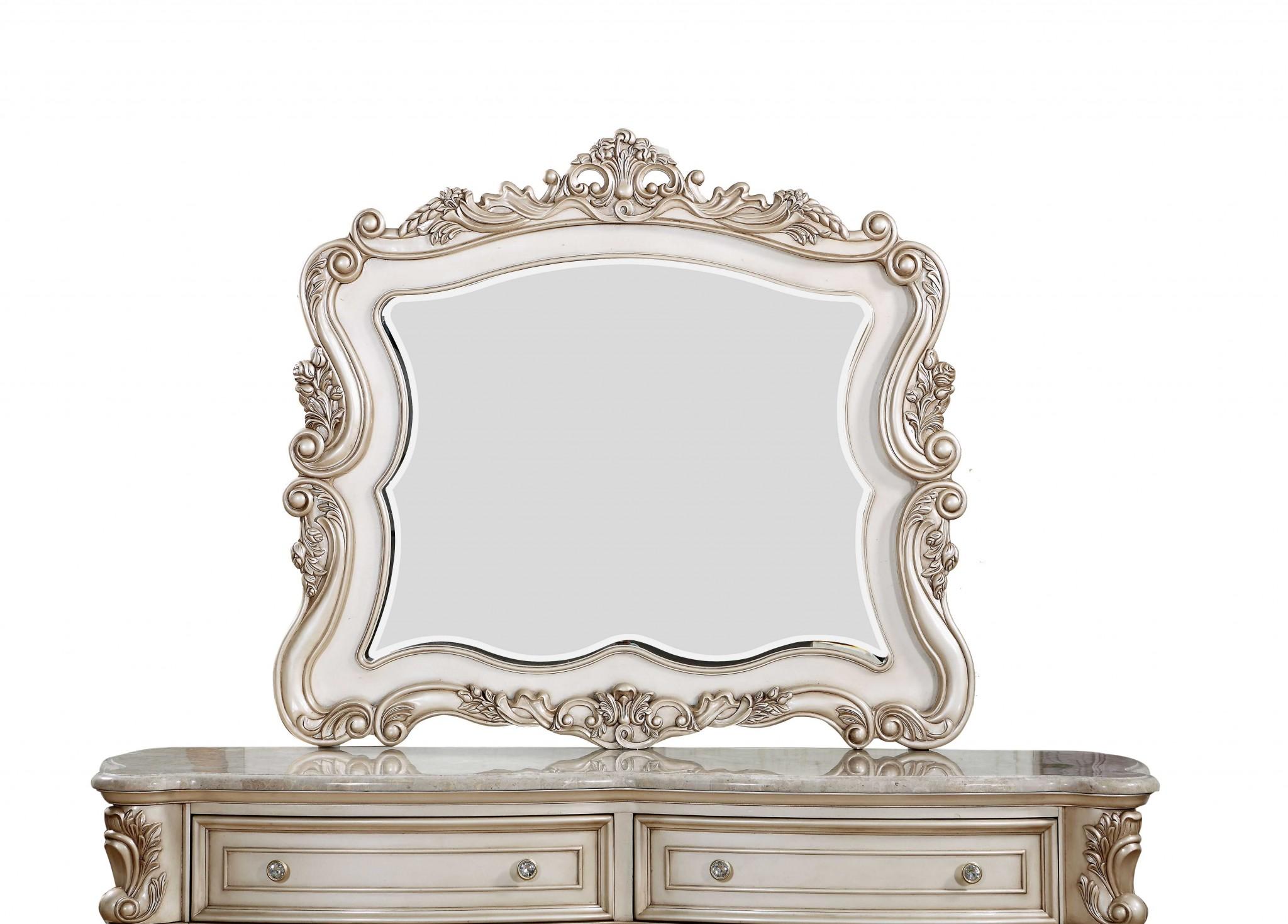 "2"" X 50"" X 44"" Antique White Wood Mirror"