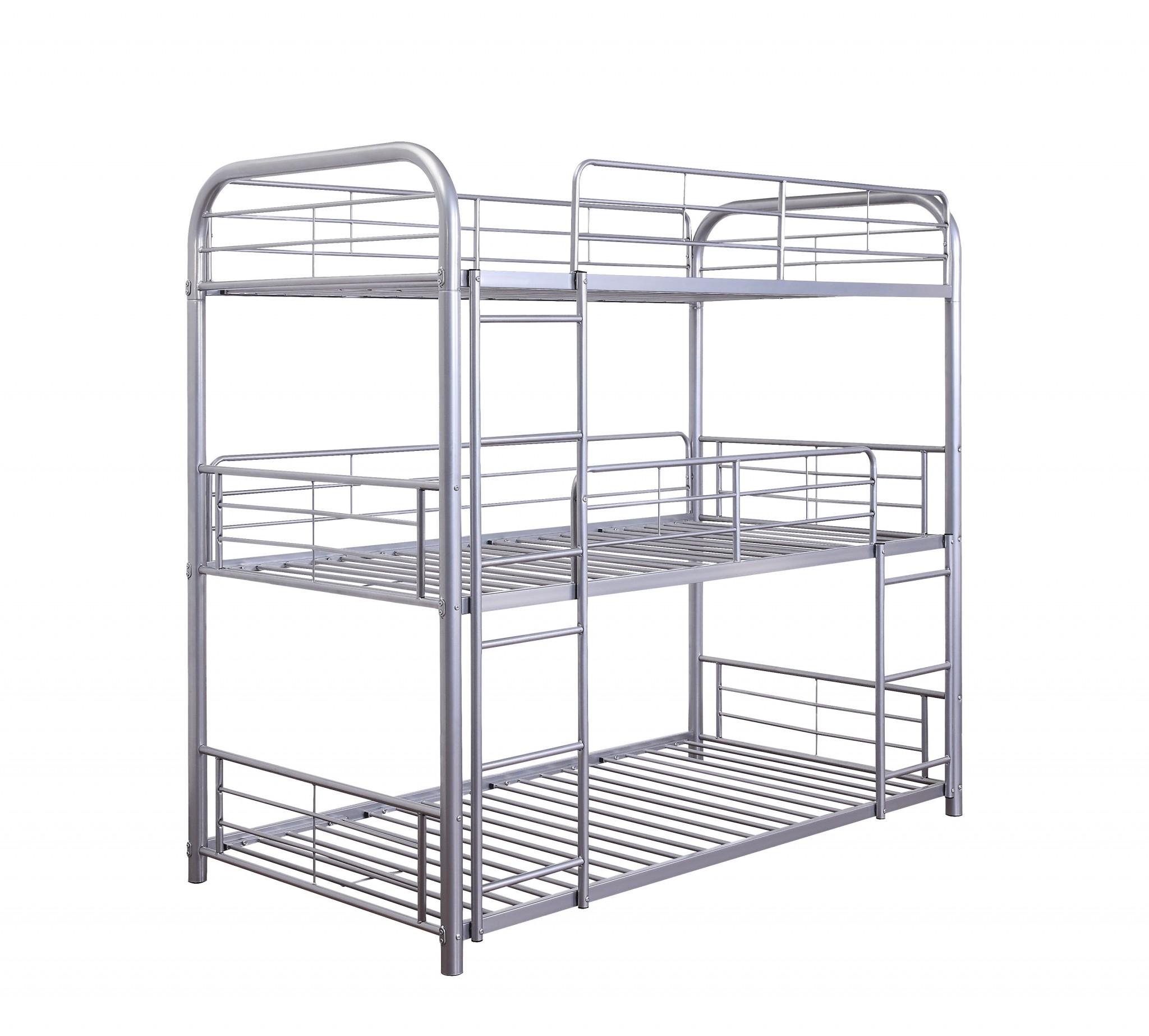 "42"" X 79"" X 74"" Silver Metal Triple Bunk Bed - Twin"