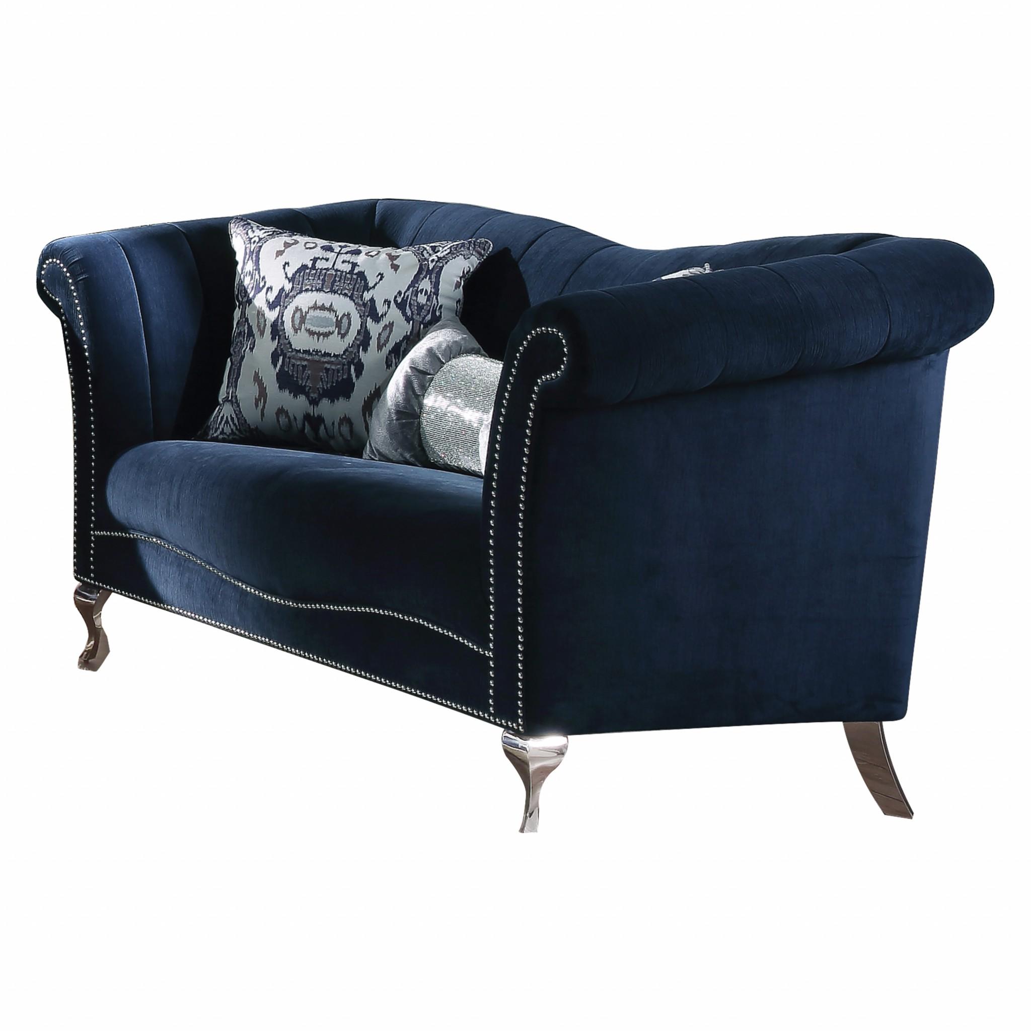 """37"""" X 74"""" X 39"""" Blue Velvet Upholstery Acrylic Leg Loveseat w/2 Pillows"""