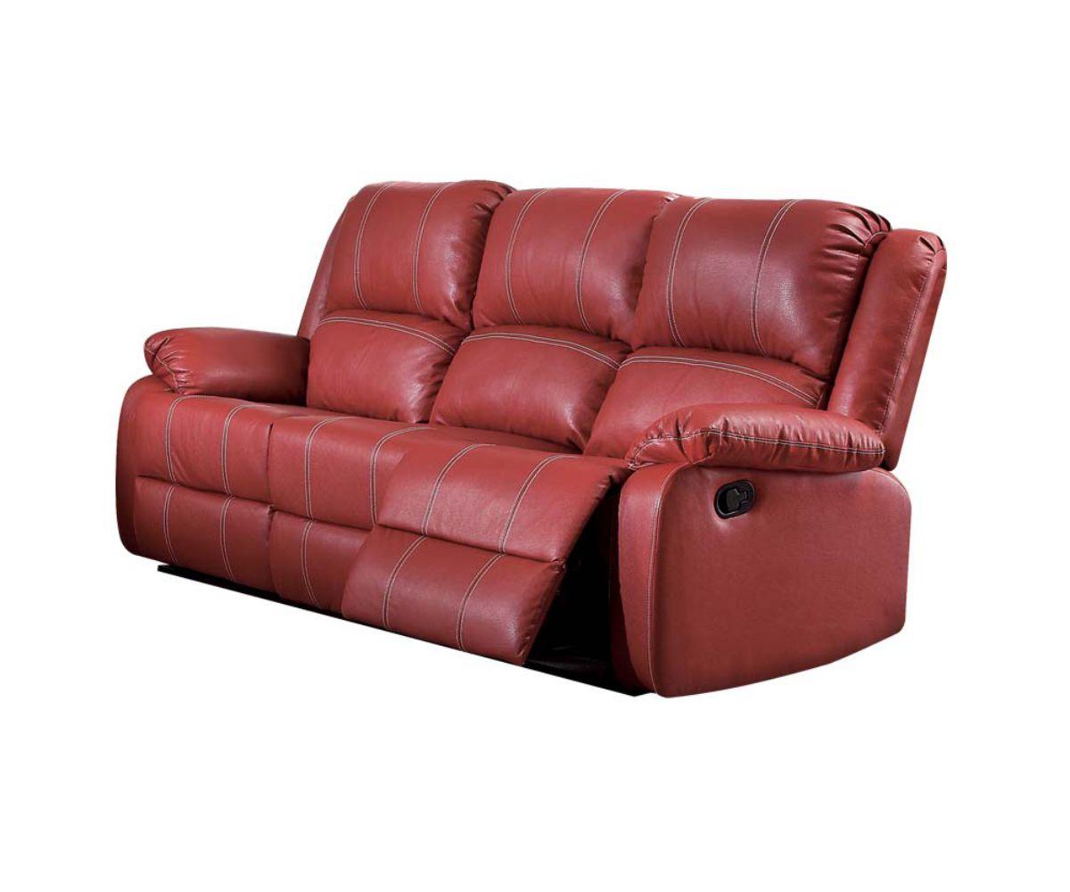 "39"" X 81"" X 40"" Red PU Upholstery Metal Reclining Mechanism Sofa (Motion)"