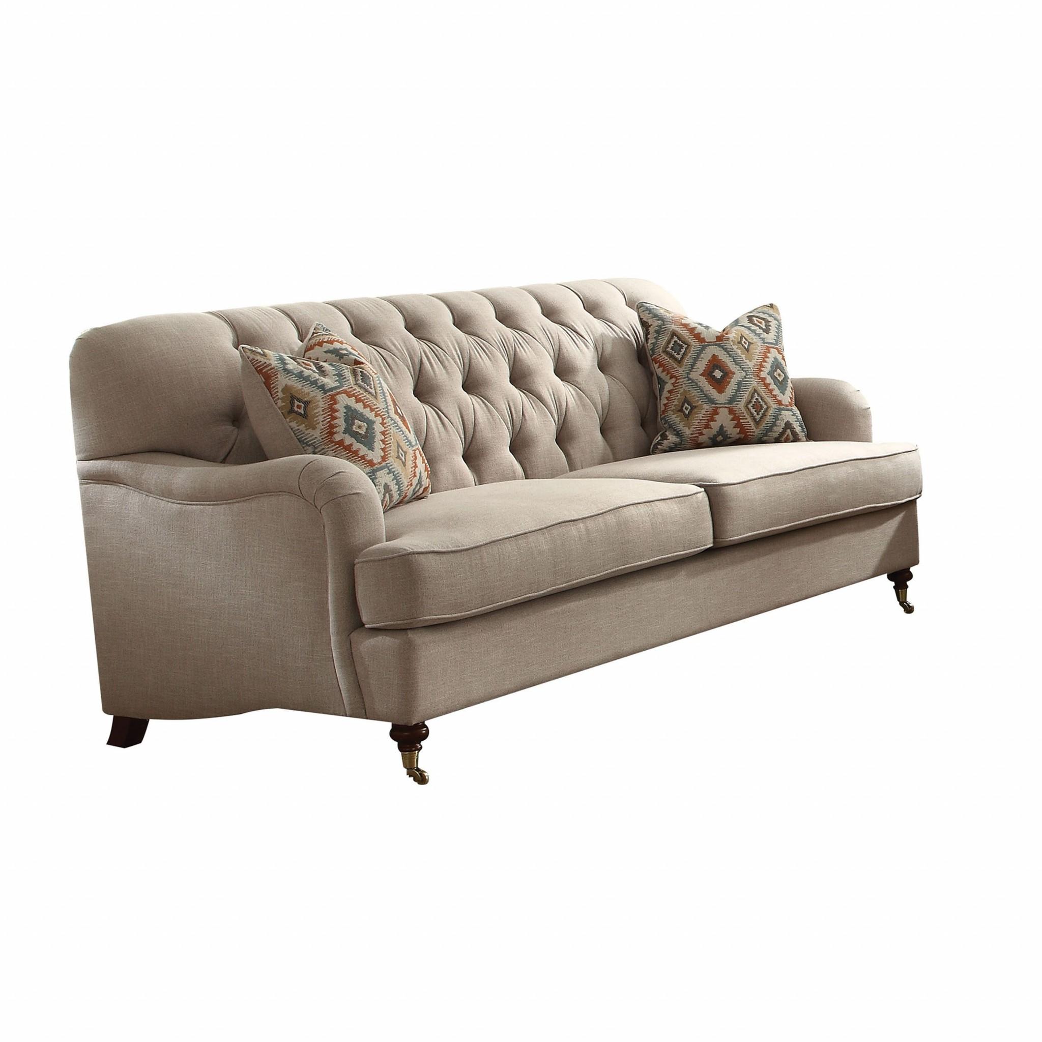 "38"" X 85"" X 37"" Beige Fabric Upholstery Sofa w/2 Pillows"