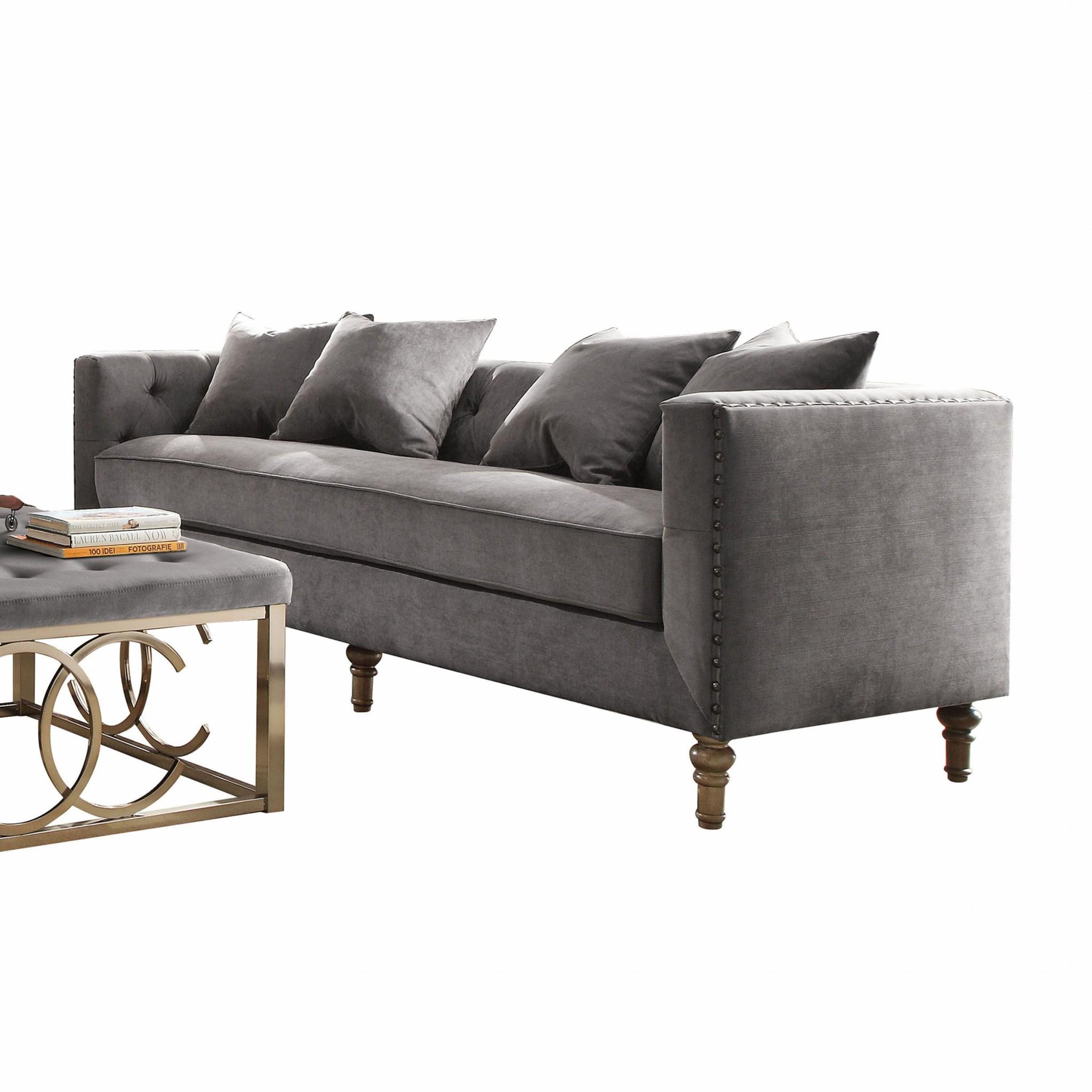 """34"""" X 84"""" X 31"""" Gray Velvet Upholstery Sofa w/4 Pillows"""