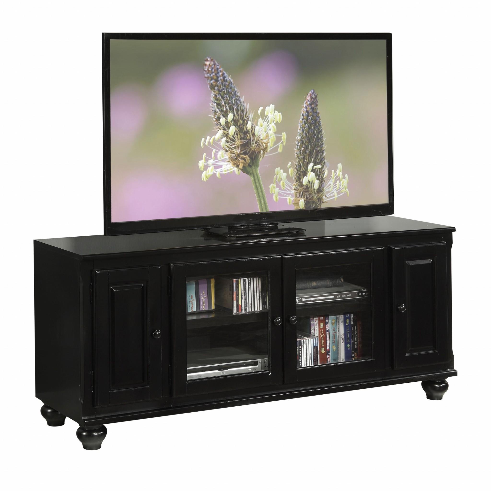 "19"" X 58"" X 26"" Black Wood Glass Veneer (Melamine) TV Stand"