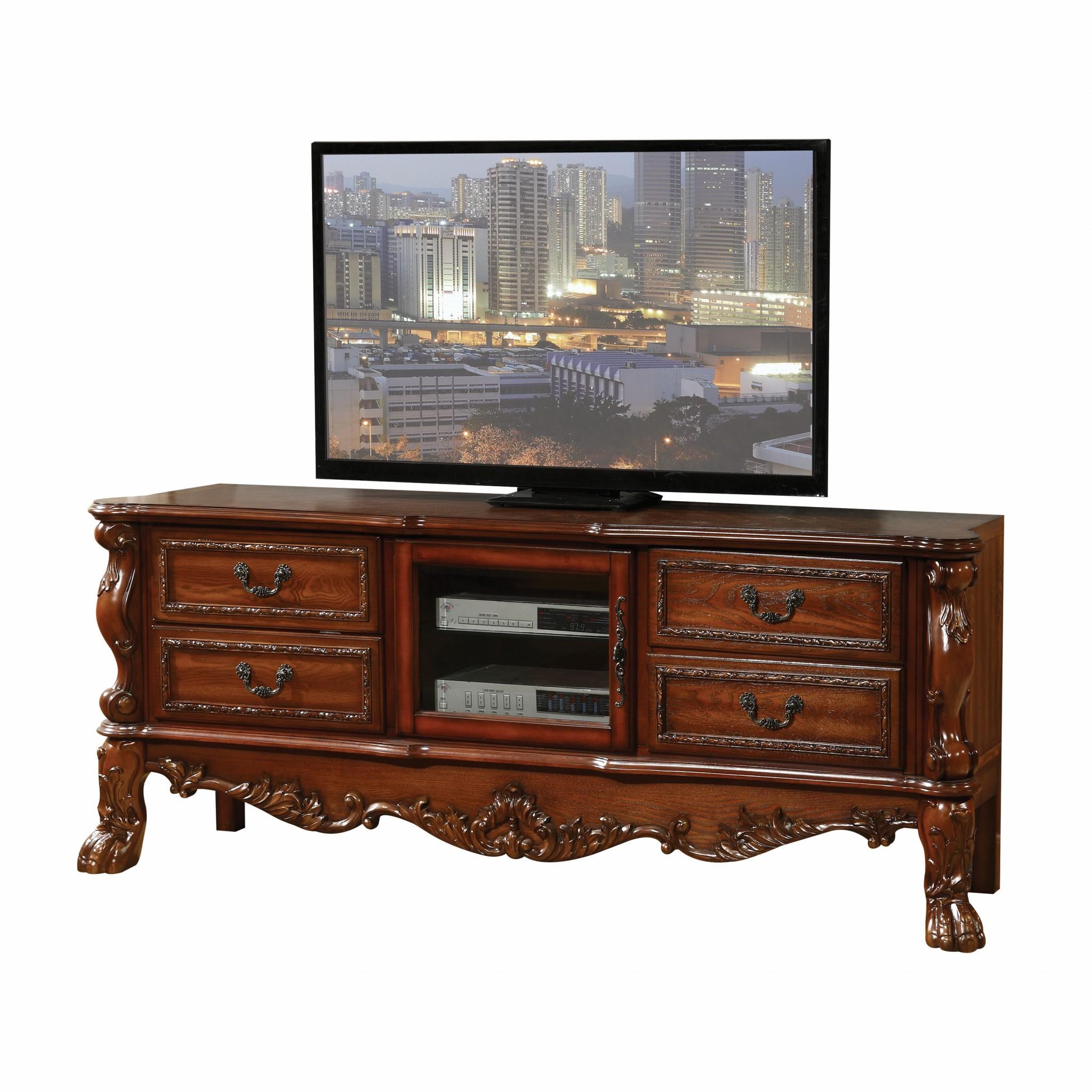 "19"" X 79"" X 31"" Cherry Oak Wood Poly Resin Glass TV Console"