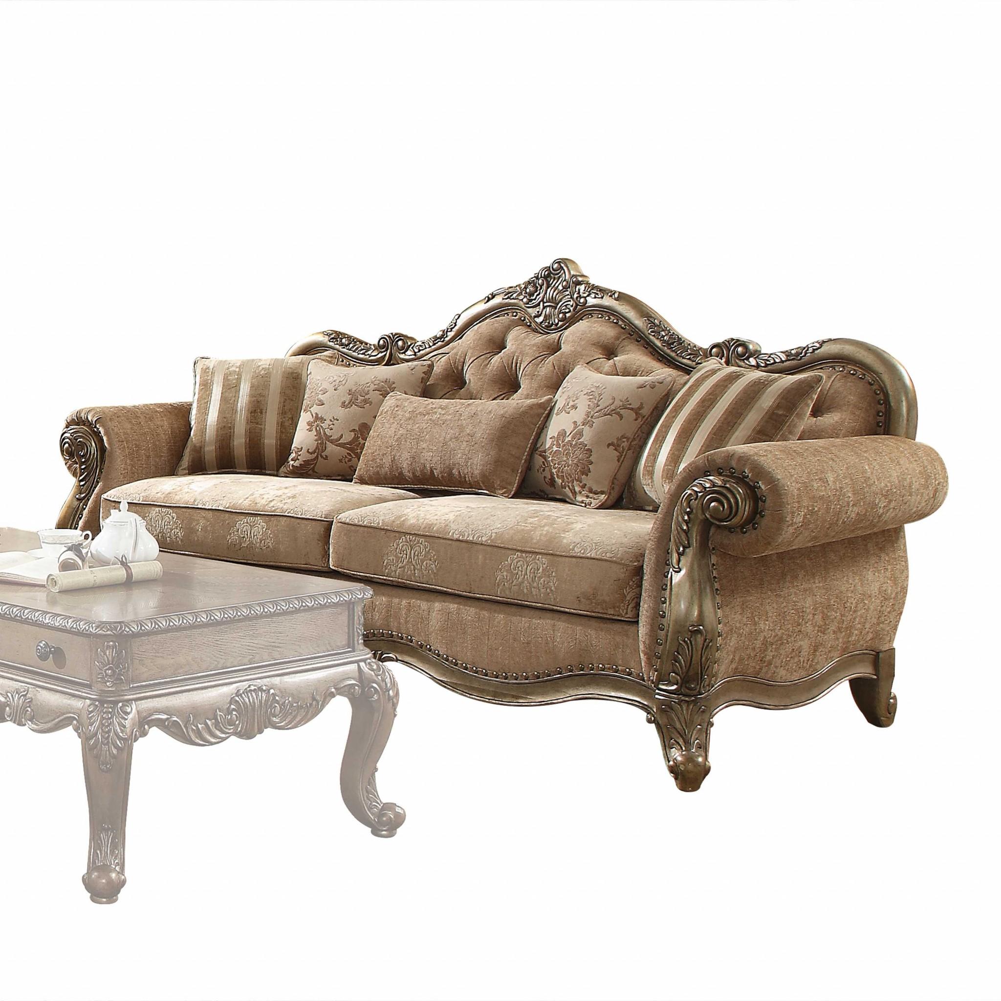"35"" X 93"" X 42"" Fabric Vintage Oak Upholstery Poly Resin Sofa w/5 Pillows"