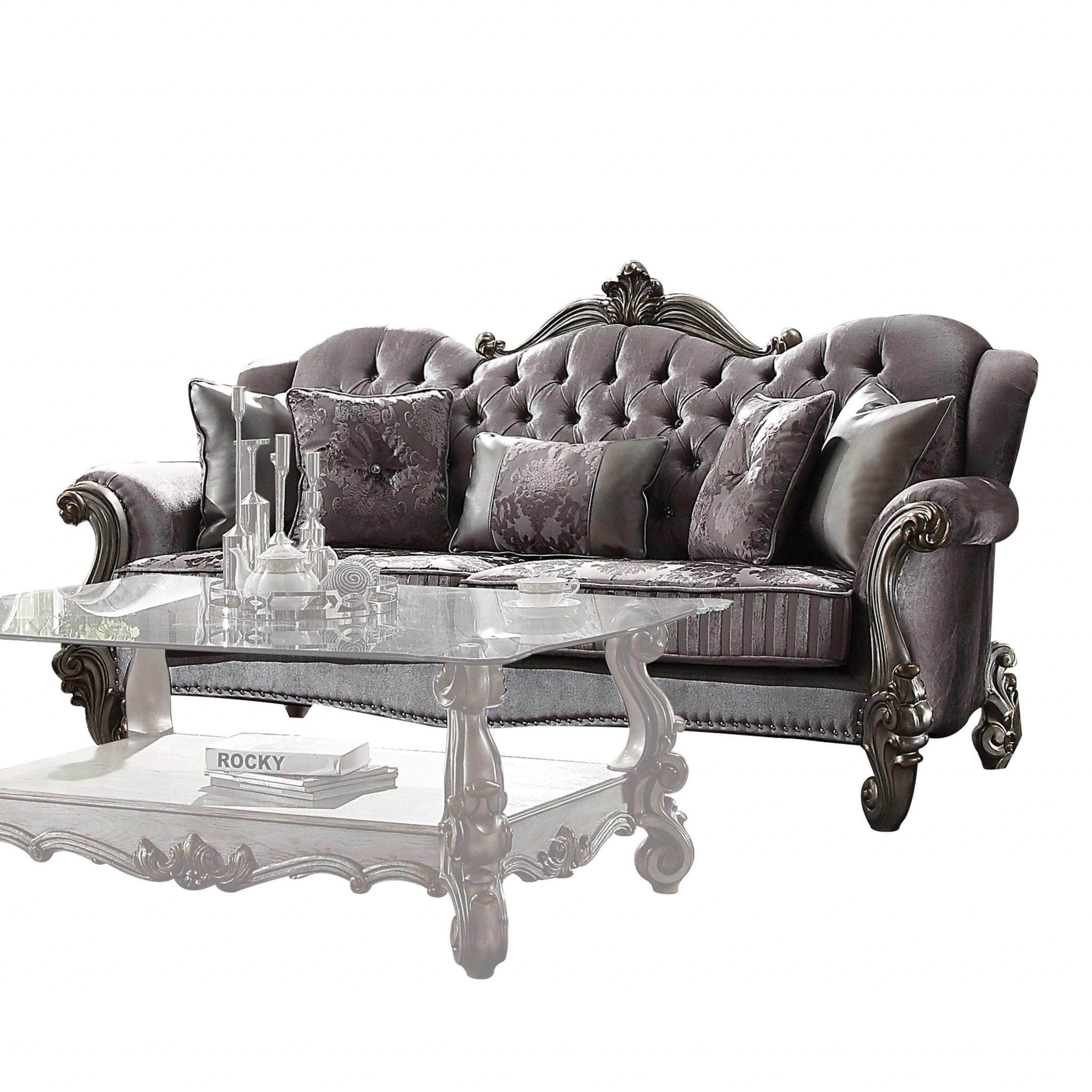 """45"""" X 92"""" X 47"""" Velvet Antique Platinum Upholstery Poly Resin Sofa w/5 Pillows"""