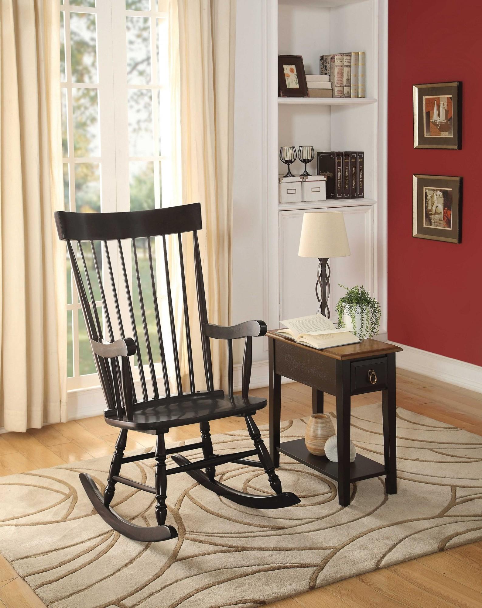 "33"" X 25"" X 45"" Black Wood Rocking Chair"