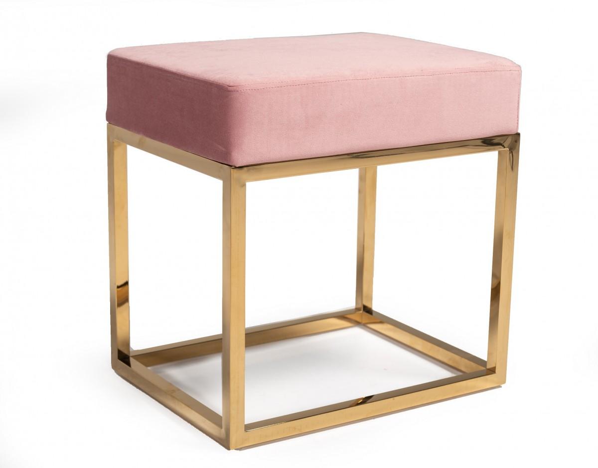 Square Modern Pink Velvet Ottoman w/ Gold Stainless Steel
