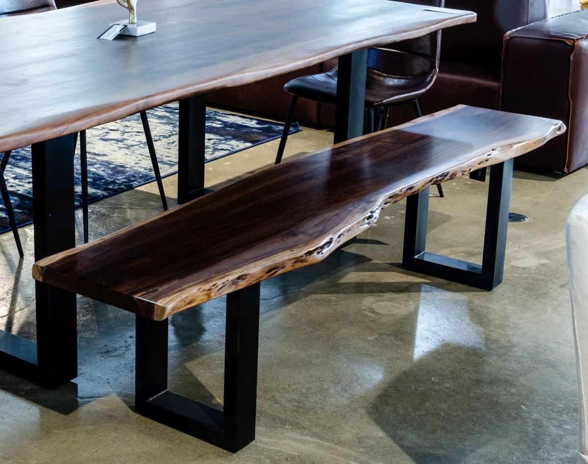 Modern Live Edge Wood and Acacia wood Dining Bench w/ Black metal U-shaped legs