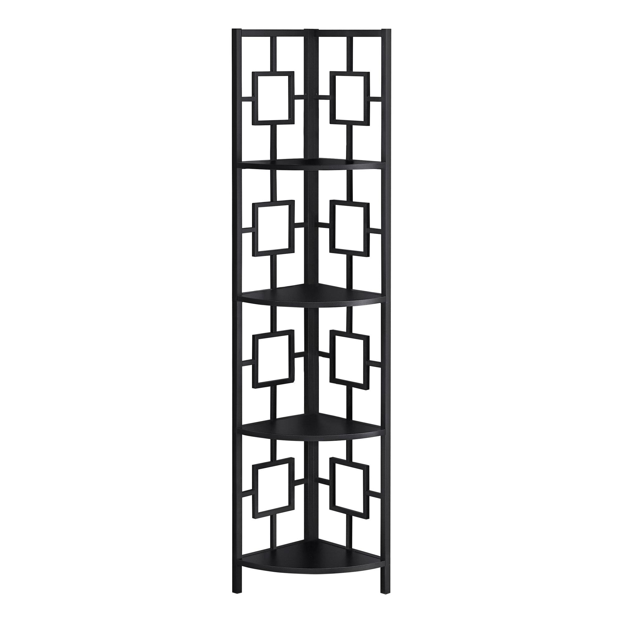 "62"" Metal Corner Black Bookcase with 4 shelves"