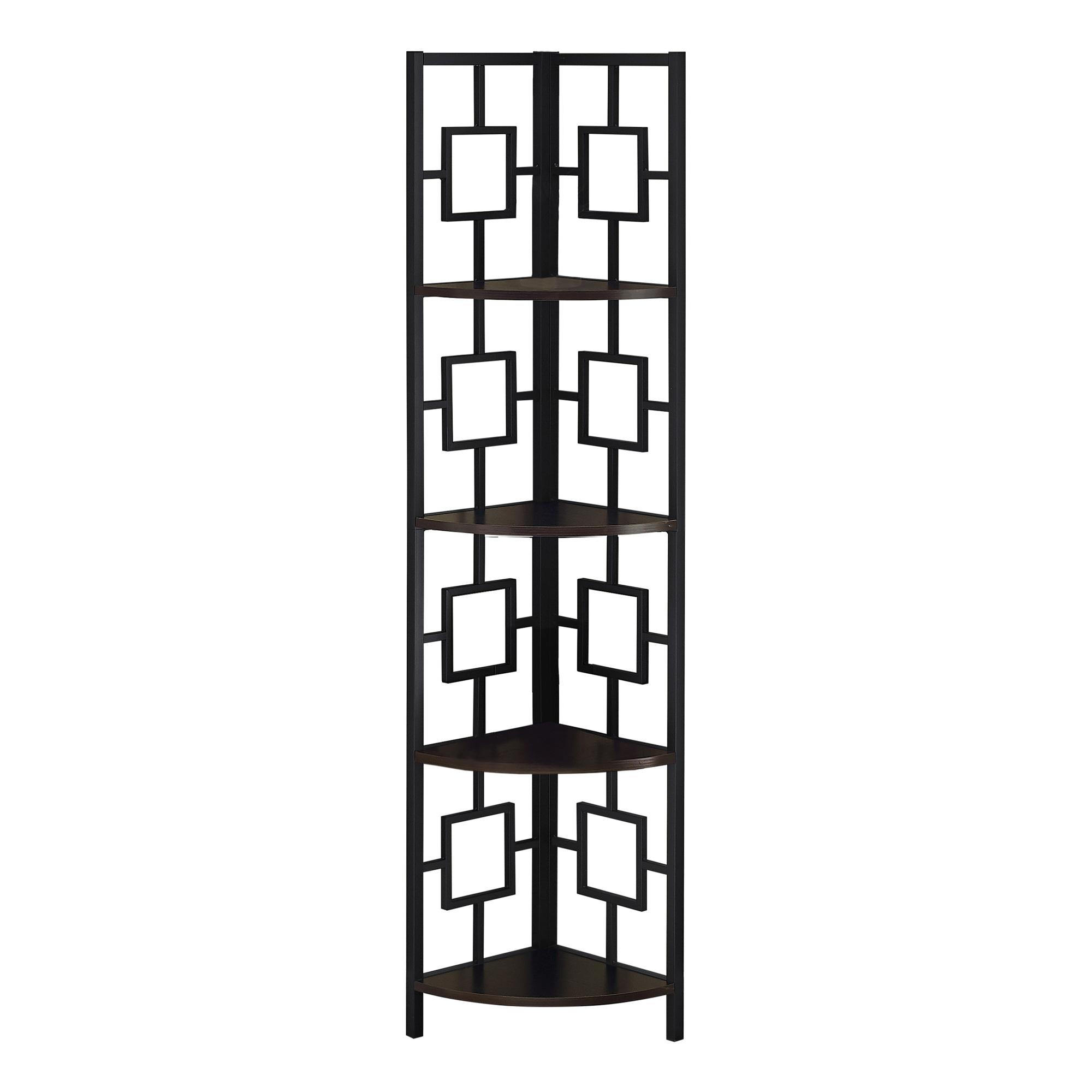 "62"" Bookcase EspressoandBlack Metal Corner Etagere with 4 shelves"