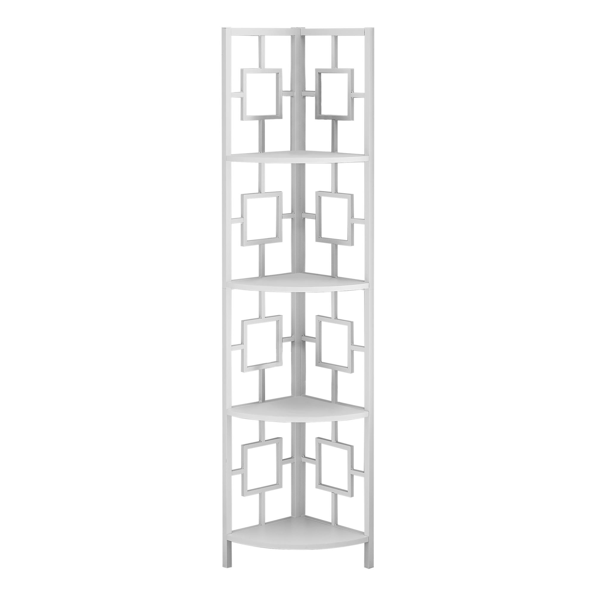 """62"""" Bookcase WhiteandWhite Metal Corner Etagere with 4 shelves"""