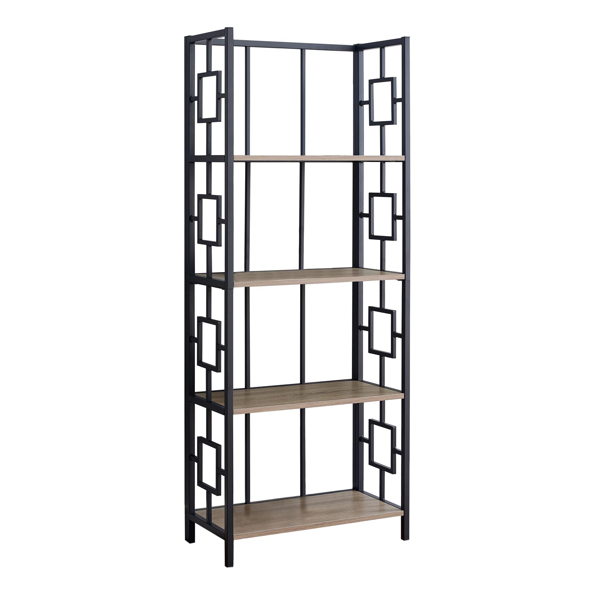"62"" 4 Tier Bookcase Dark TaupewithBlack Metal Etagere"